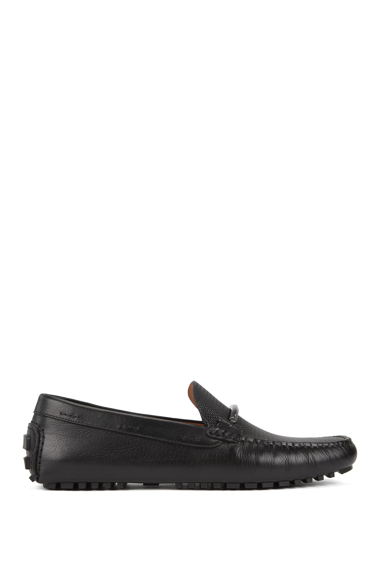 Driver moccasins in monogram-embossed calf leather