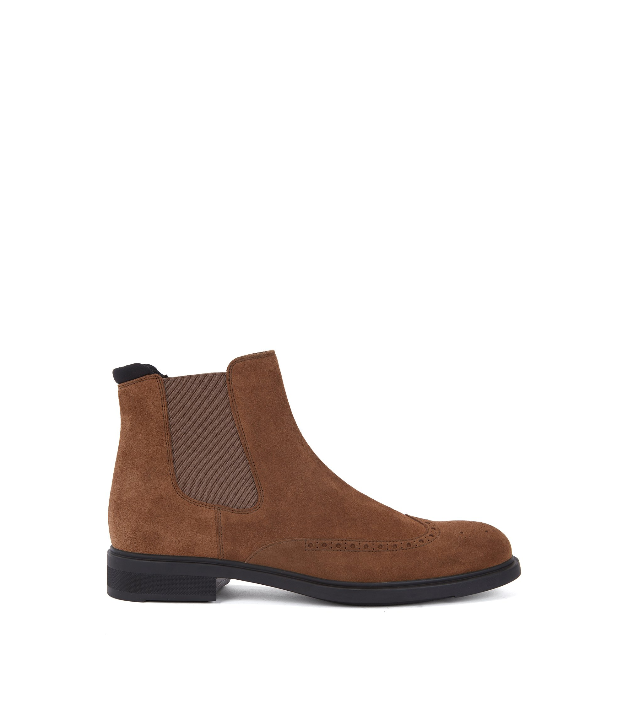 Bottines Chelsea en daim imperméable, Marron