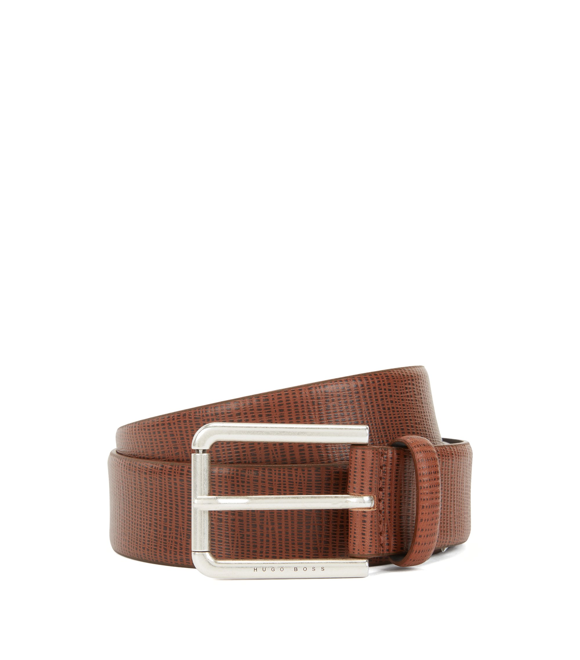 Calf-leather belt with embossed pattern, Brown