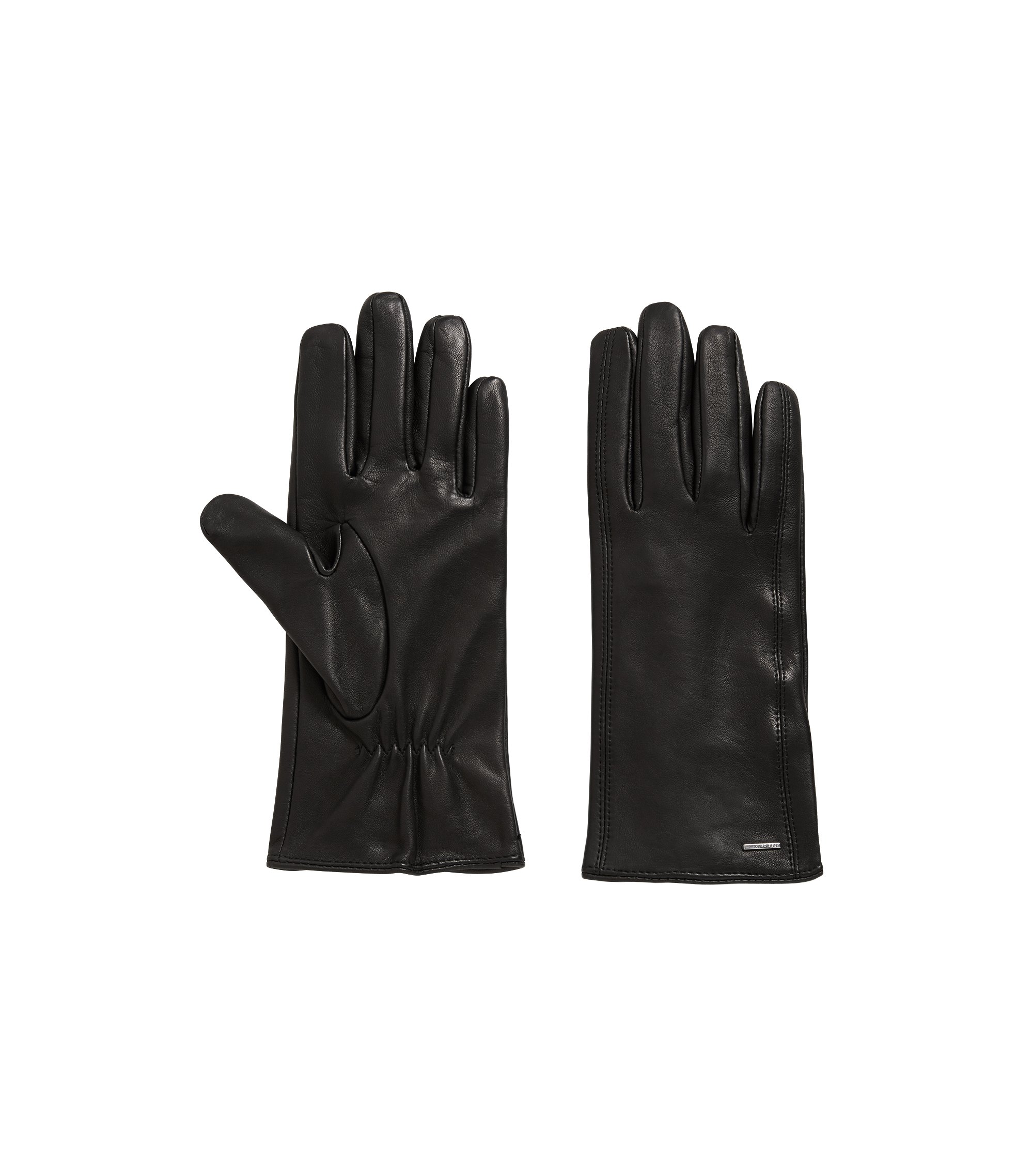 Lambskin leather gloves with embroidered heart details, Black