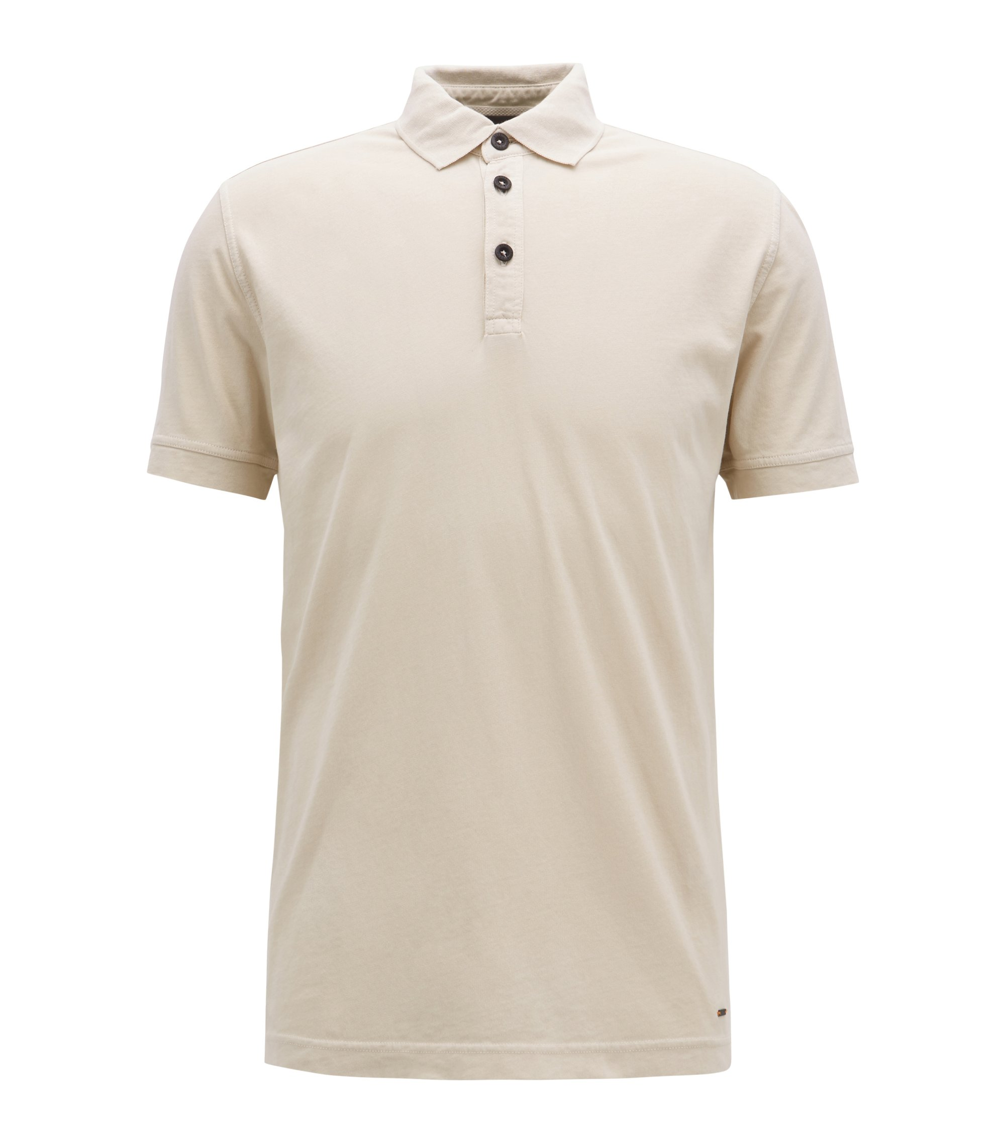 Relaxed-fit polo shirt in recot²® cotton jersey, Beige