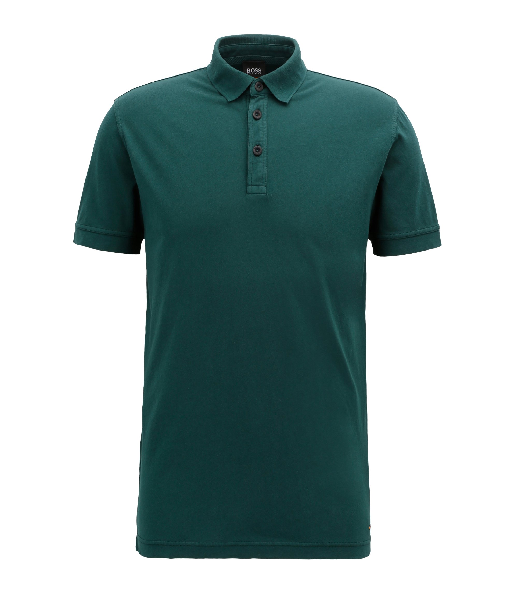 Relaxed-fit polo shirt in recot²® cotton jersey, Dark Green