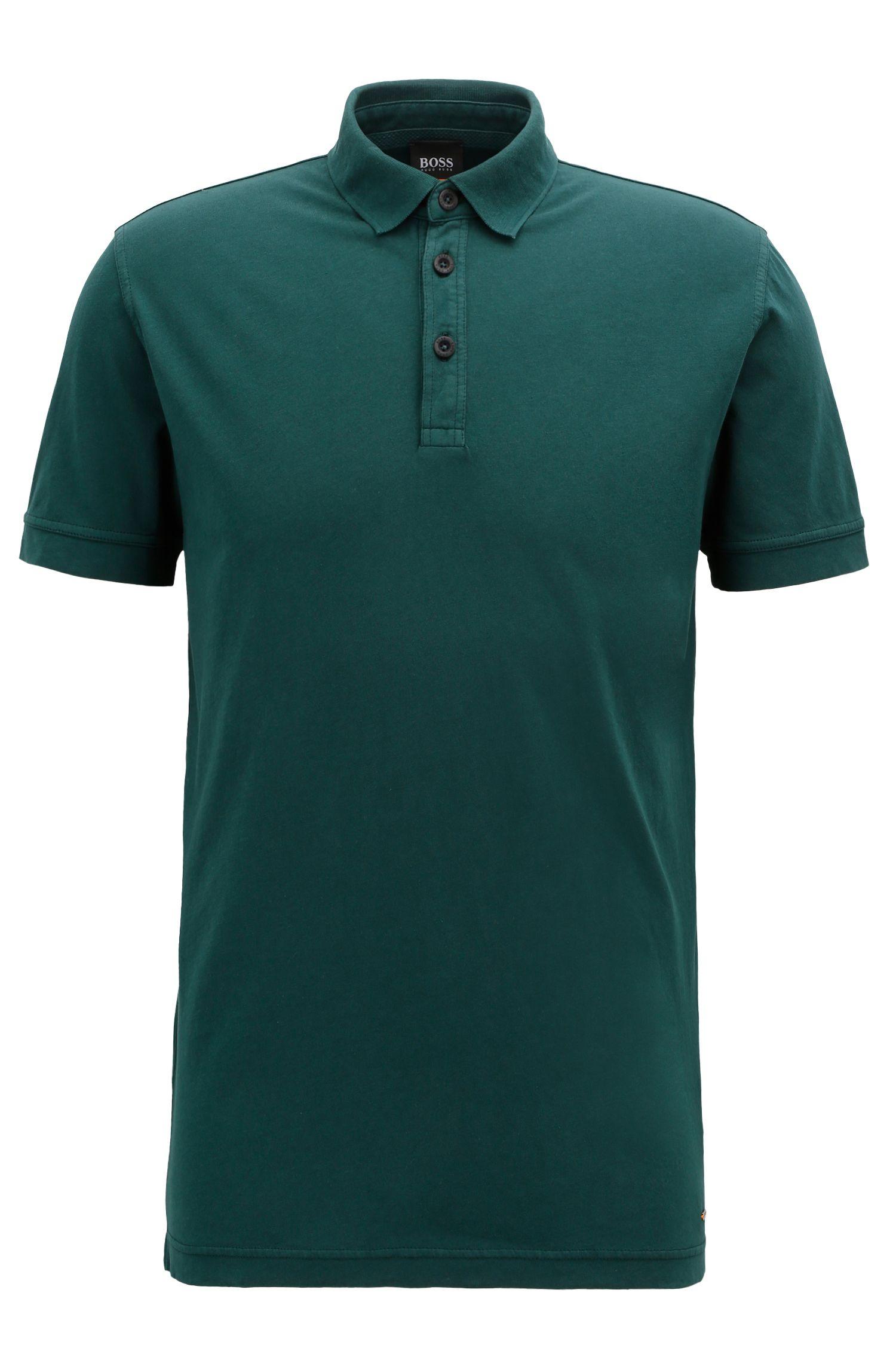 Polo relaxed fit en punto de algodón recot²®, Verde oscuro