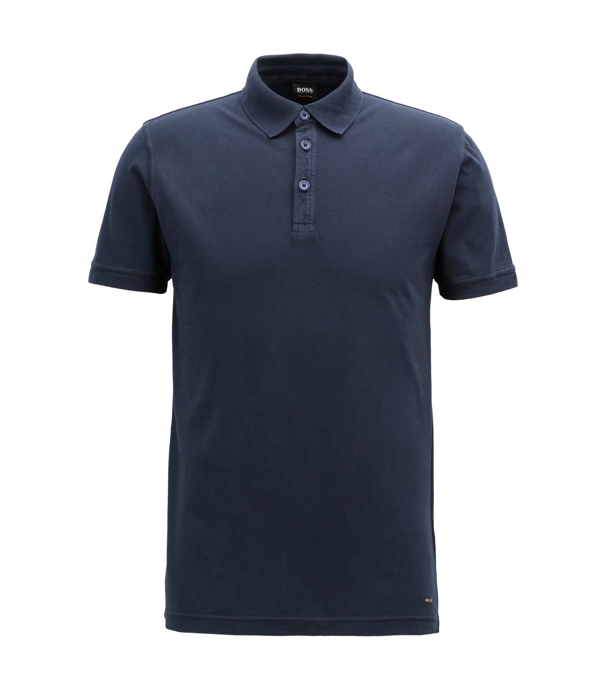 Relaxed-fit polo shirt in recot²® cotton jersey, Dark Blue