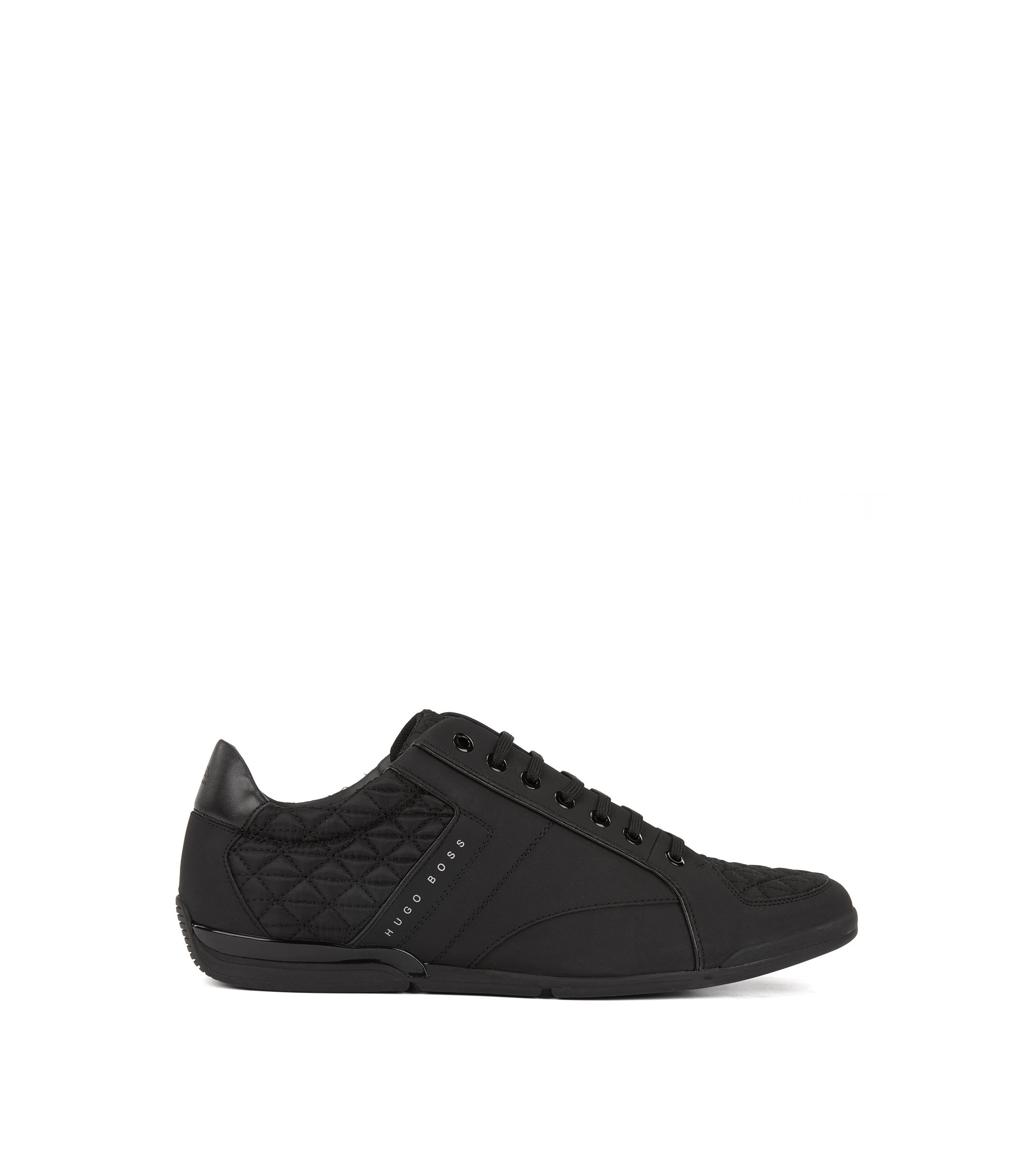 Low-top trainers with leather and quilted panels, Black