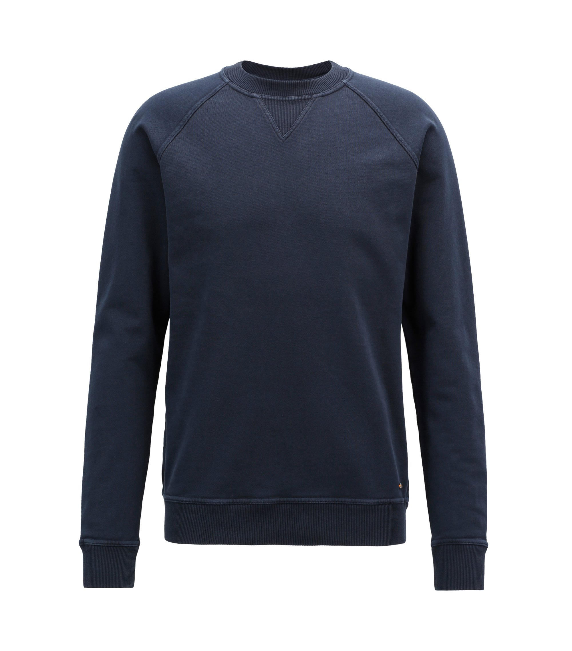 Crew-neck sweatshirt in recot²® French terry, Dark Blue