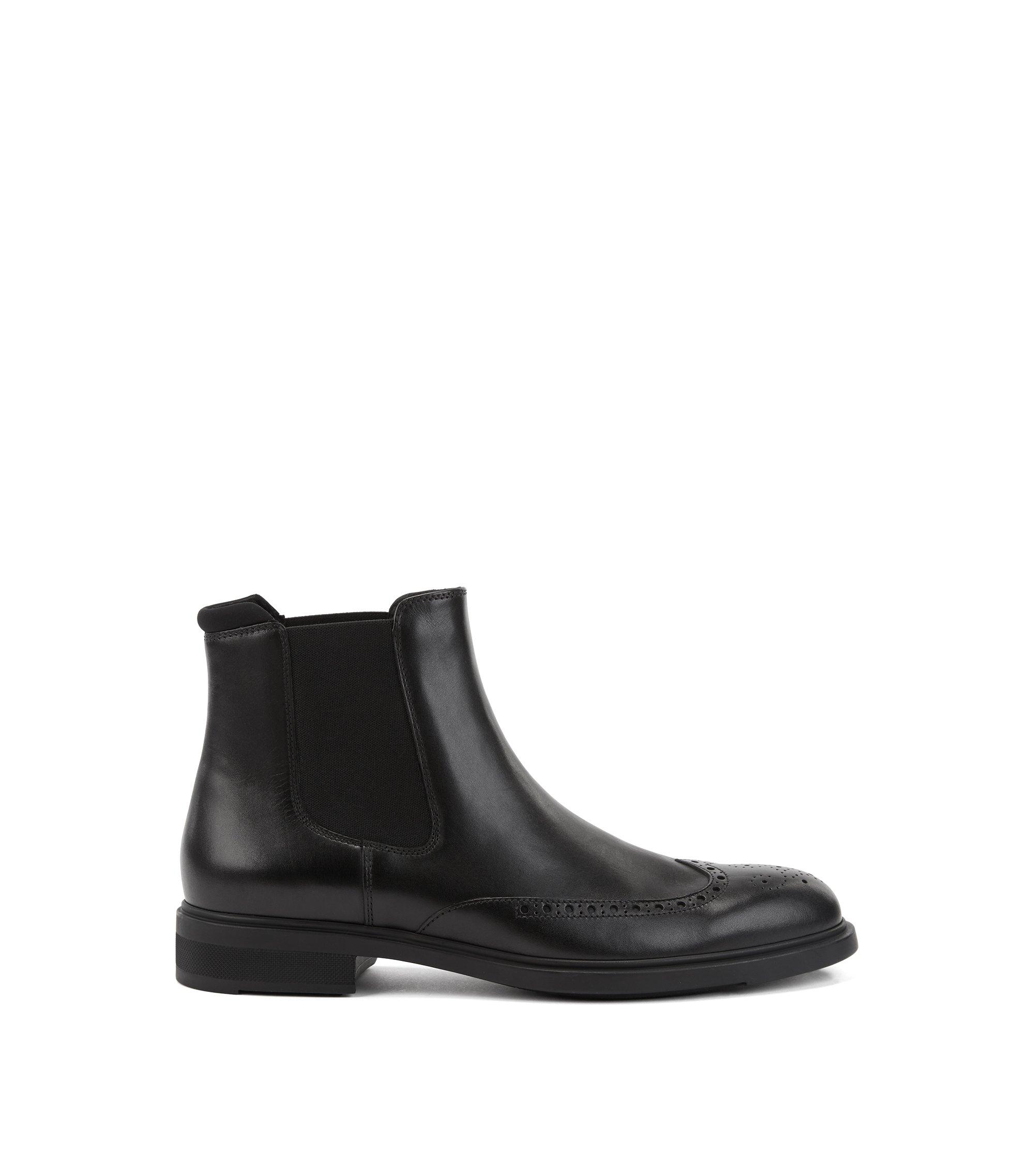 Botines de estilo Chelsea en piel de becerro con detalles calados, Negro