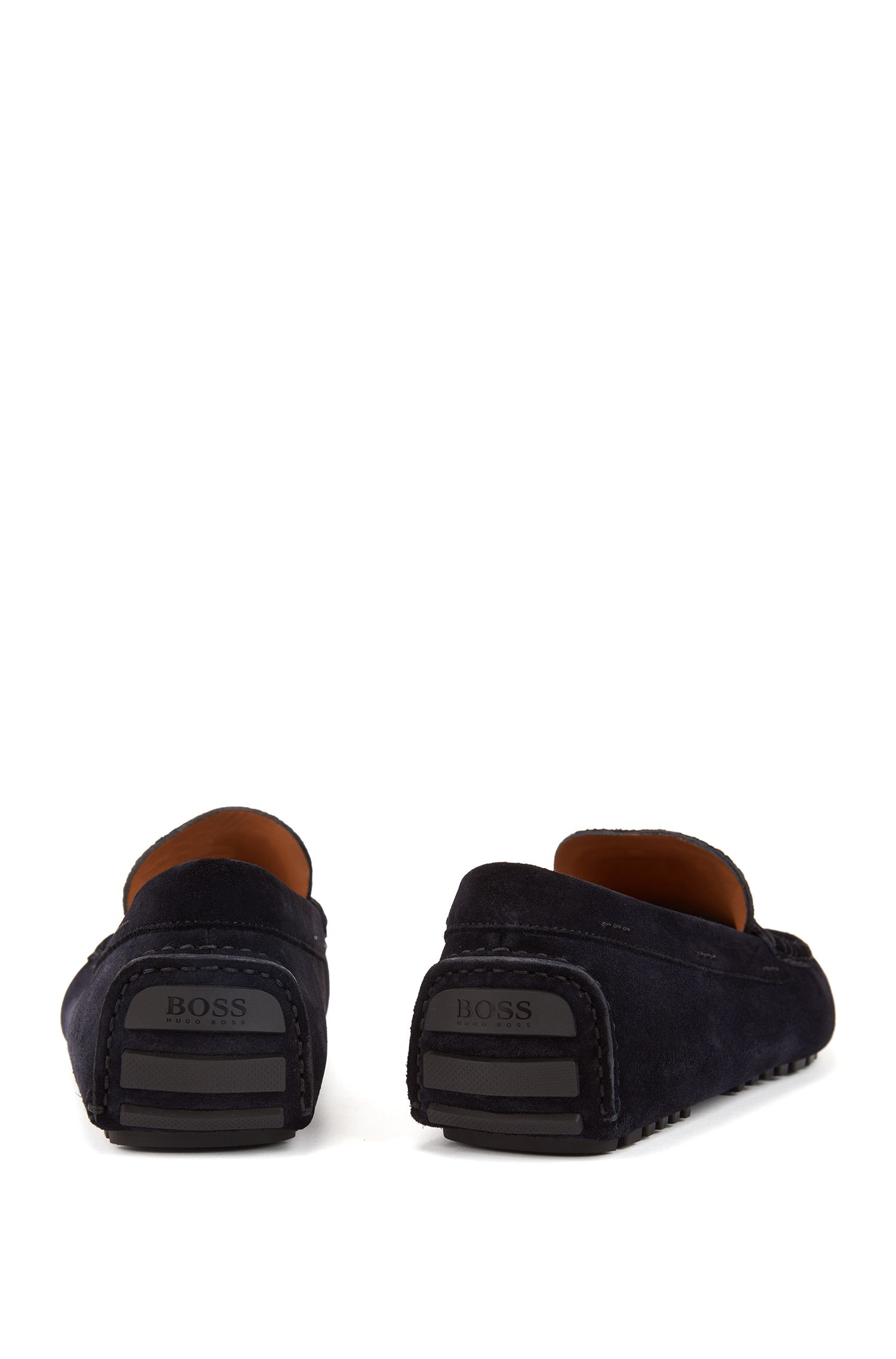 Suede driver moccasins with monogram embossing, Dark Blue