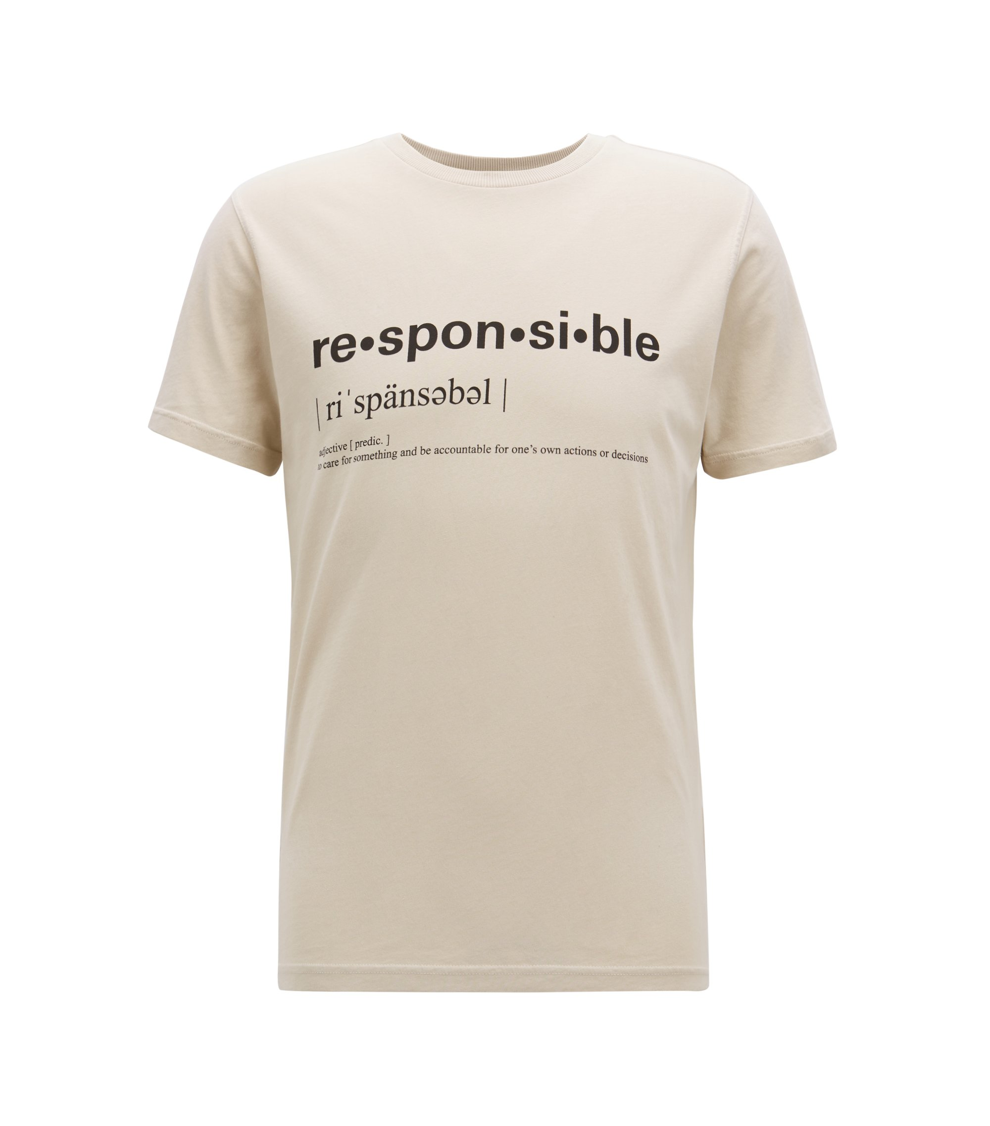 Relaxed-fit slogan T-shirt in recot²® cotton jersey, Beige