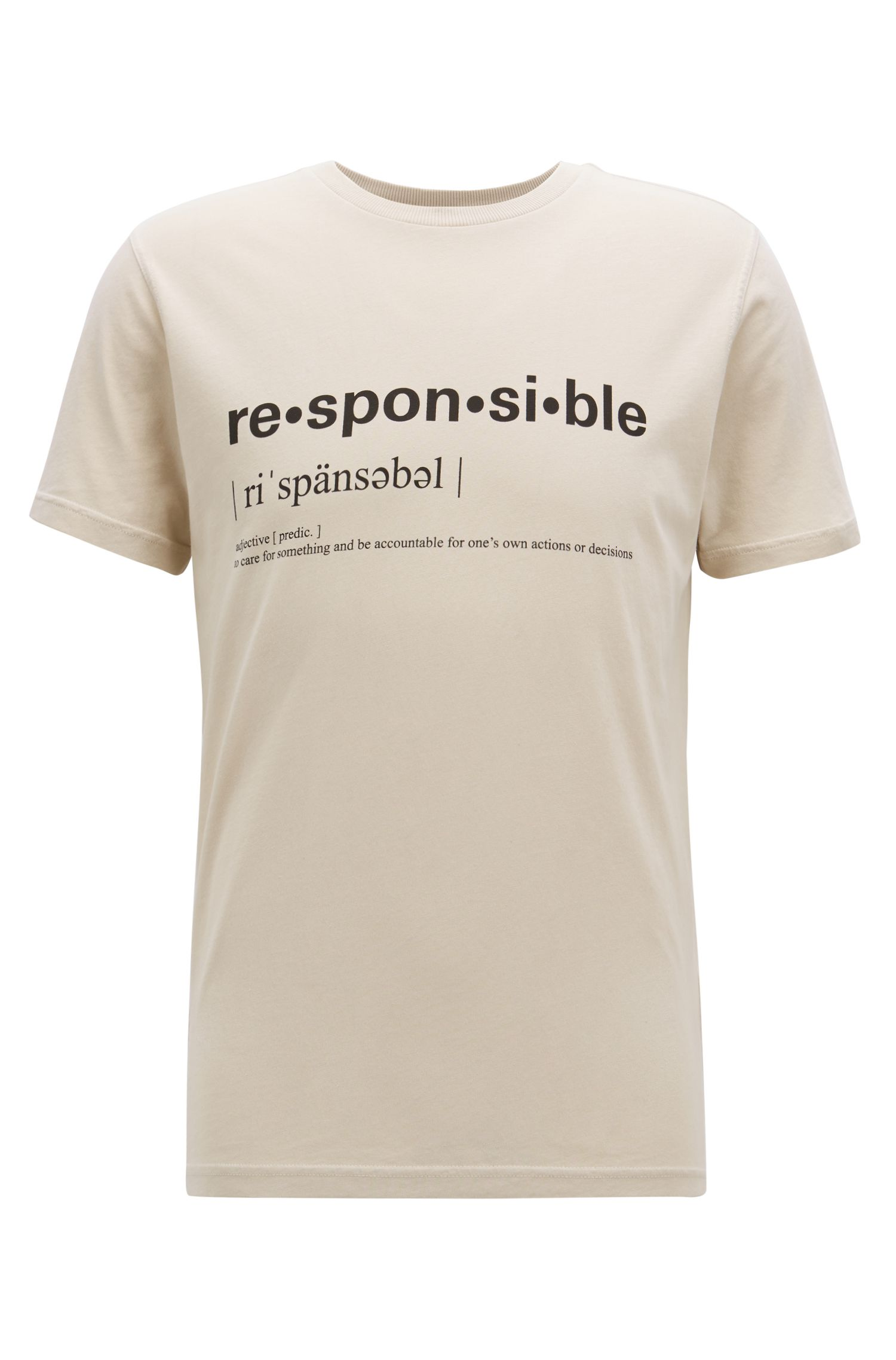 Relaxed-Fit T-Shirt aus recot²® Single Jersey mit Slogan, Beige
