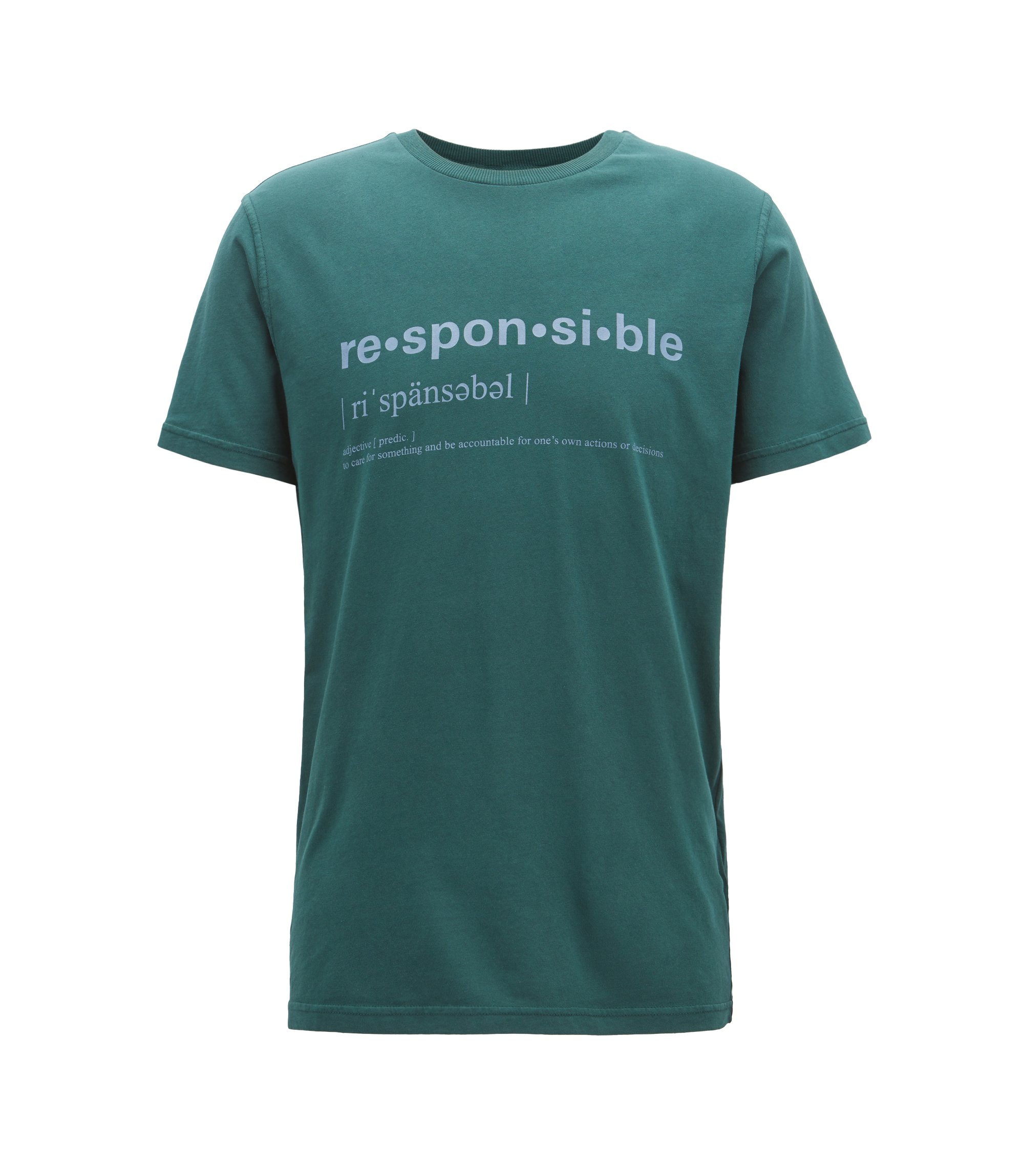 Relaxed-Fit T-Shirt aus recot²® Single Jersey mit Slogan, Dunkelgrün