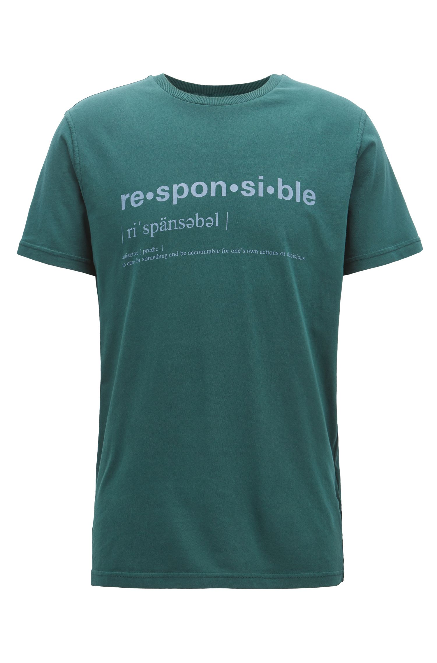 T-shirt Relaxed Fit à message, en jersey de coton recot²®, Vert sombre