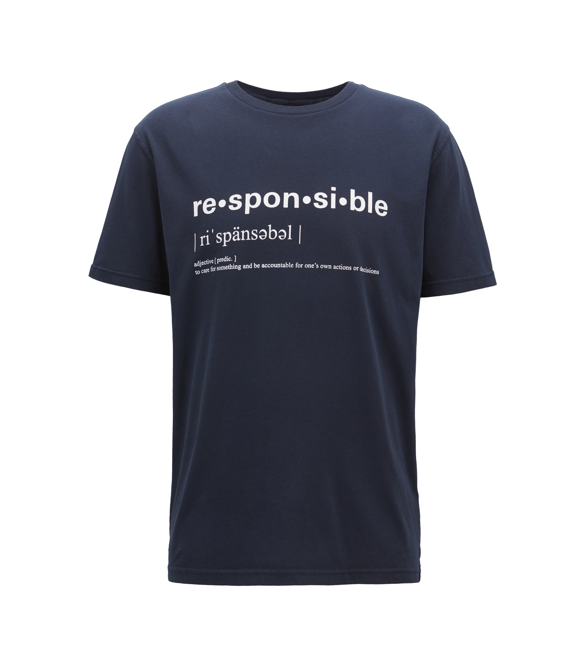 Relaxed-fit slogan T-shirt in recot²® cotton jersey, Dark Blue