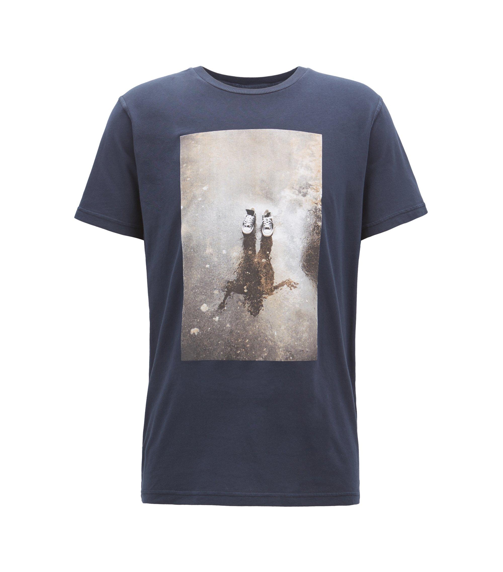 Camiseta gráfica relaxed fit en punto de algodón recot²®, Azul oscuro