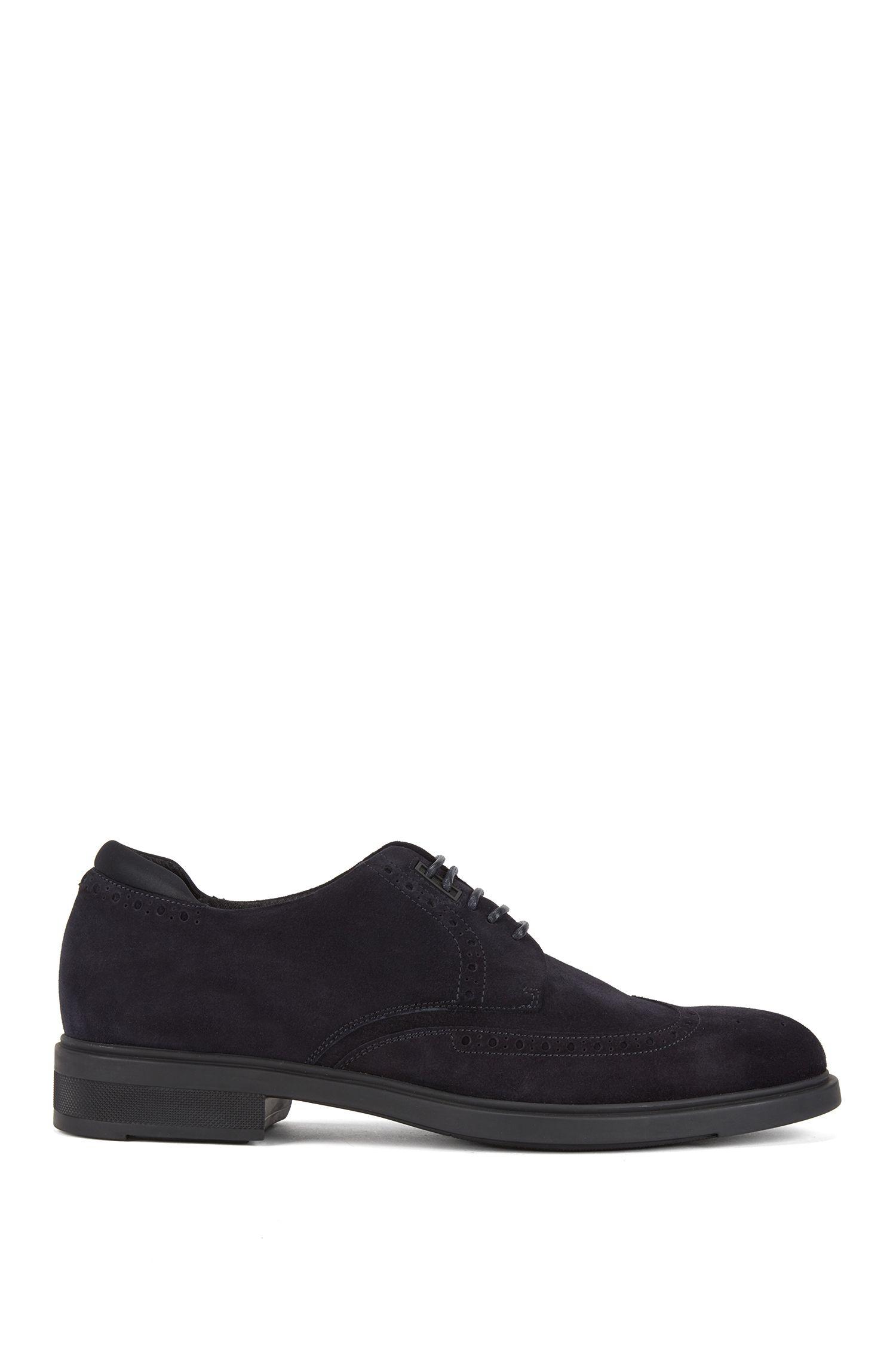 Zapatos Derby en ante impermeable con detalles calados, Azul oscuro