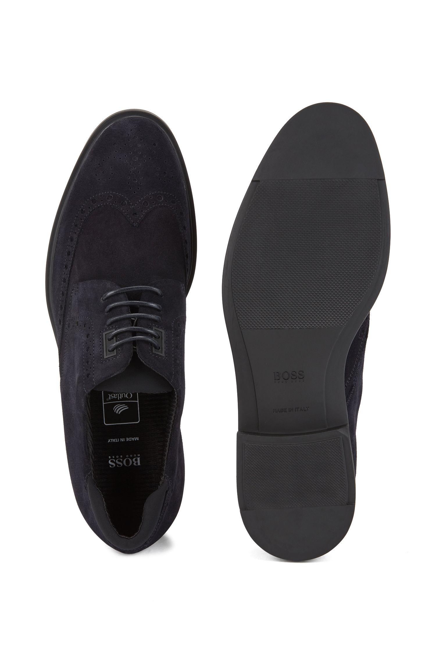 Chaussures derby en daim imperméable, avec détails richelieu, Bleu foncé
