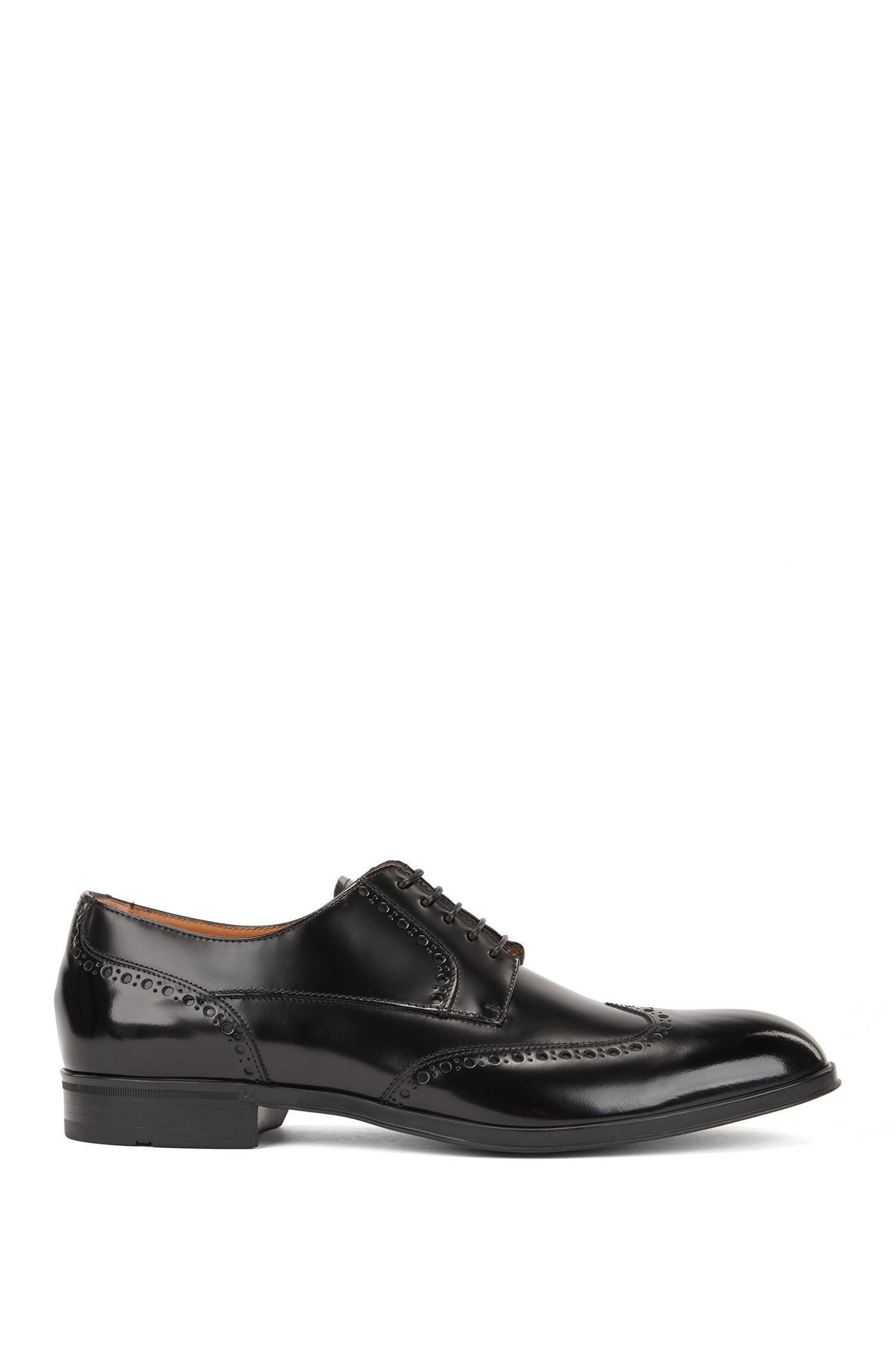 Derby brogues in brush-off calf leather, Black