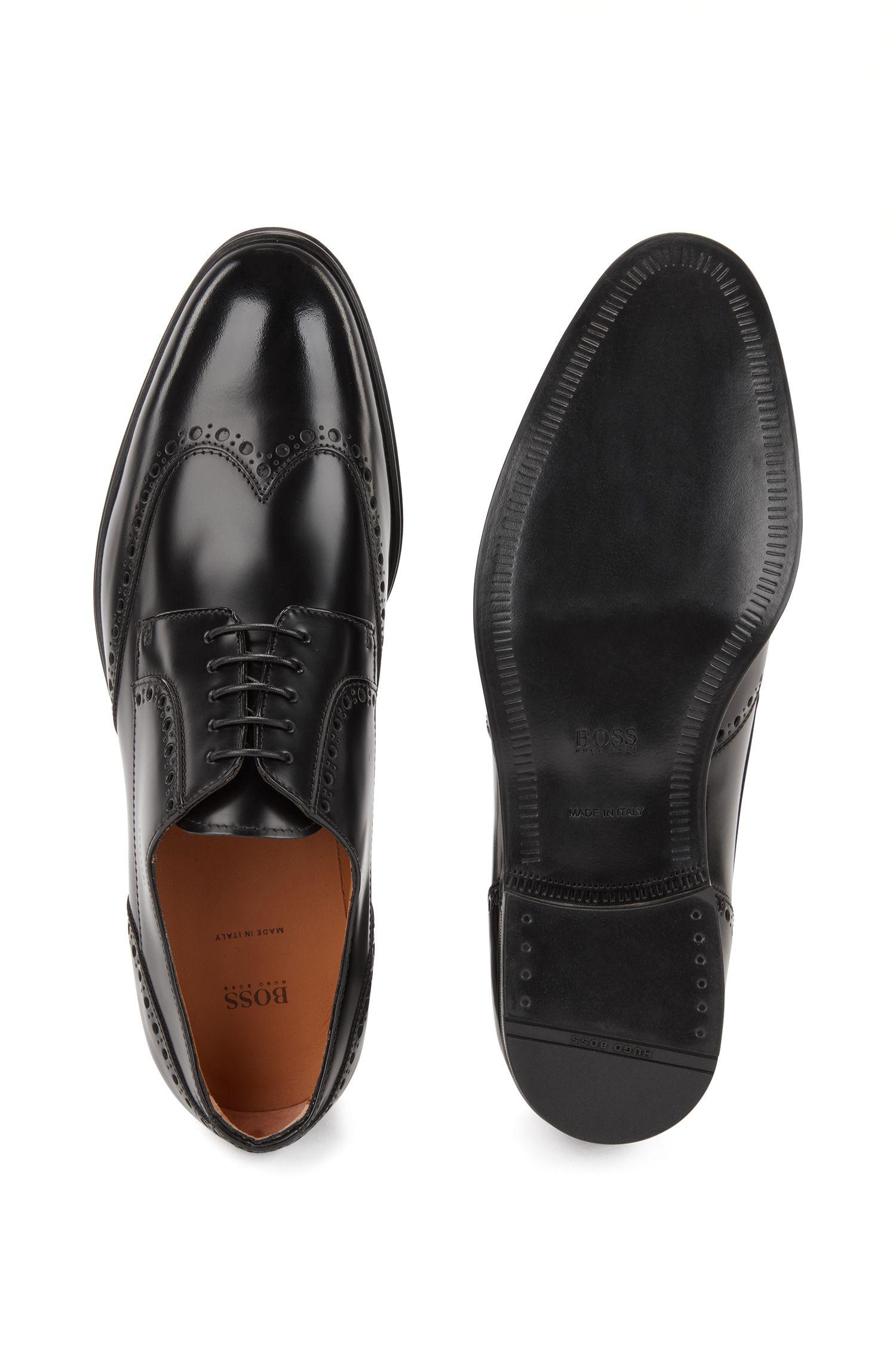 Chaussures derby richelieu en cuir de veau brossé, Noir