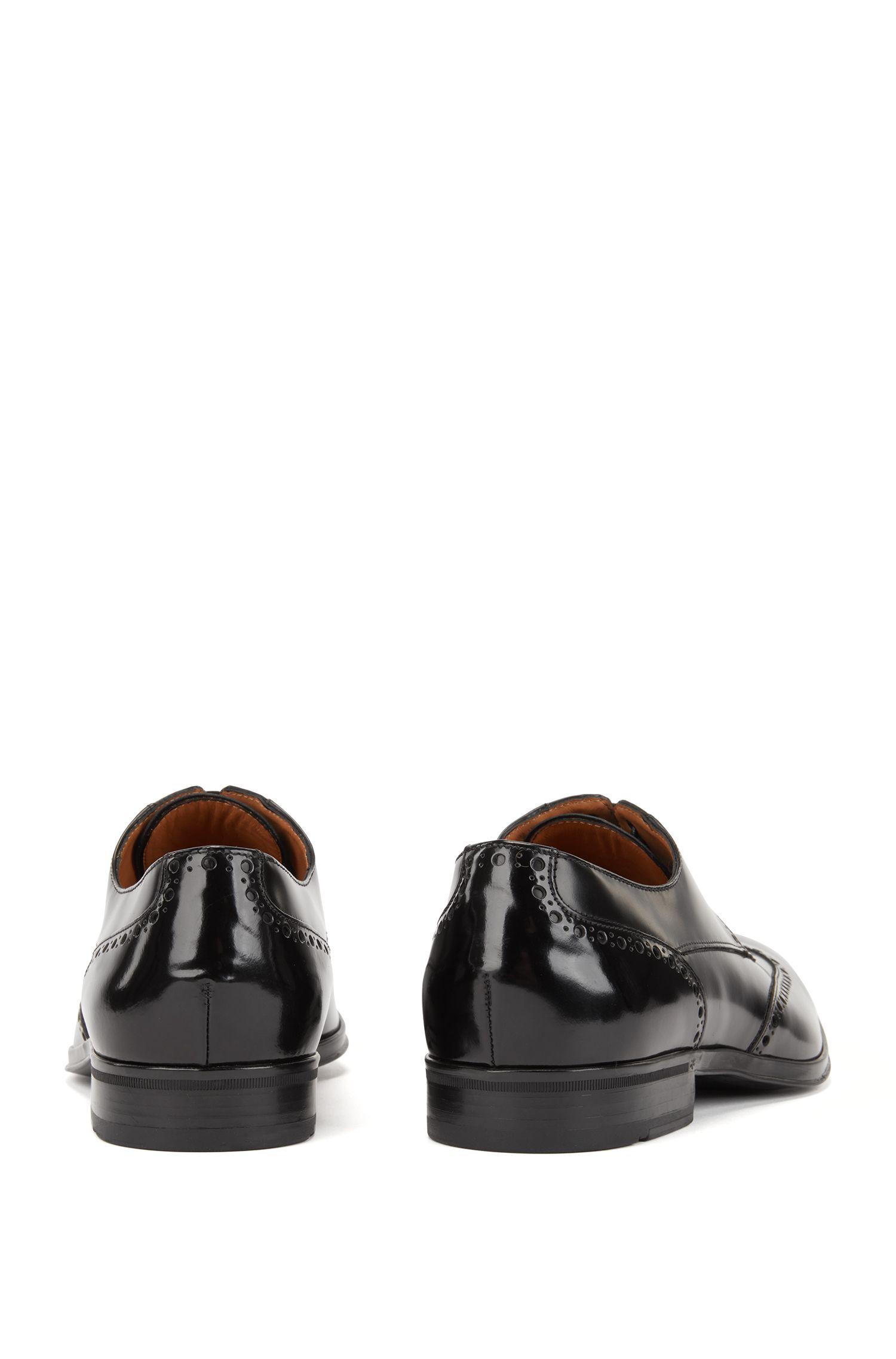 Scarpe brogue modello derby in pelle di vitello spazzolata, Nero