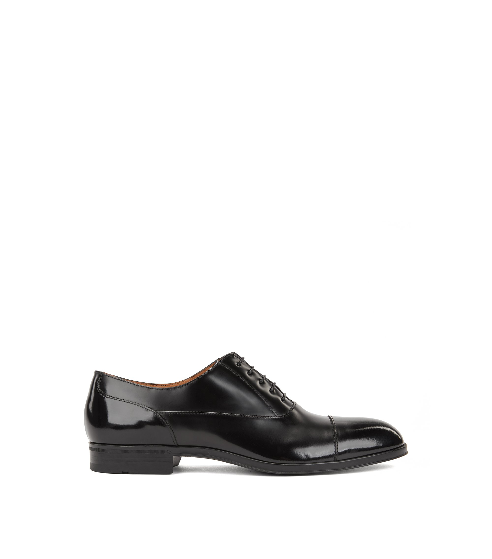 Oxford shoes in brush-off patent calf leather, Black