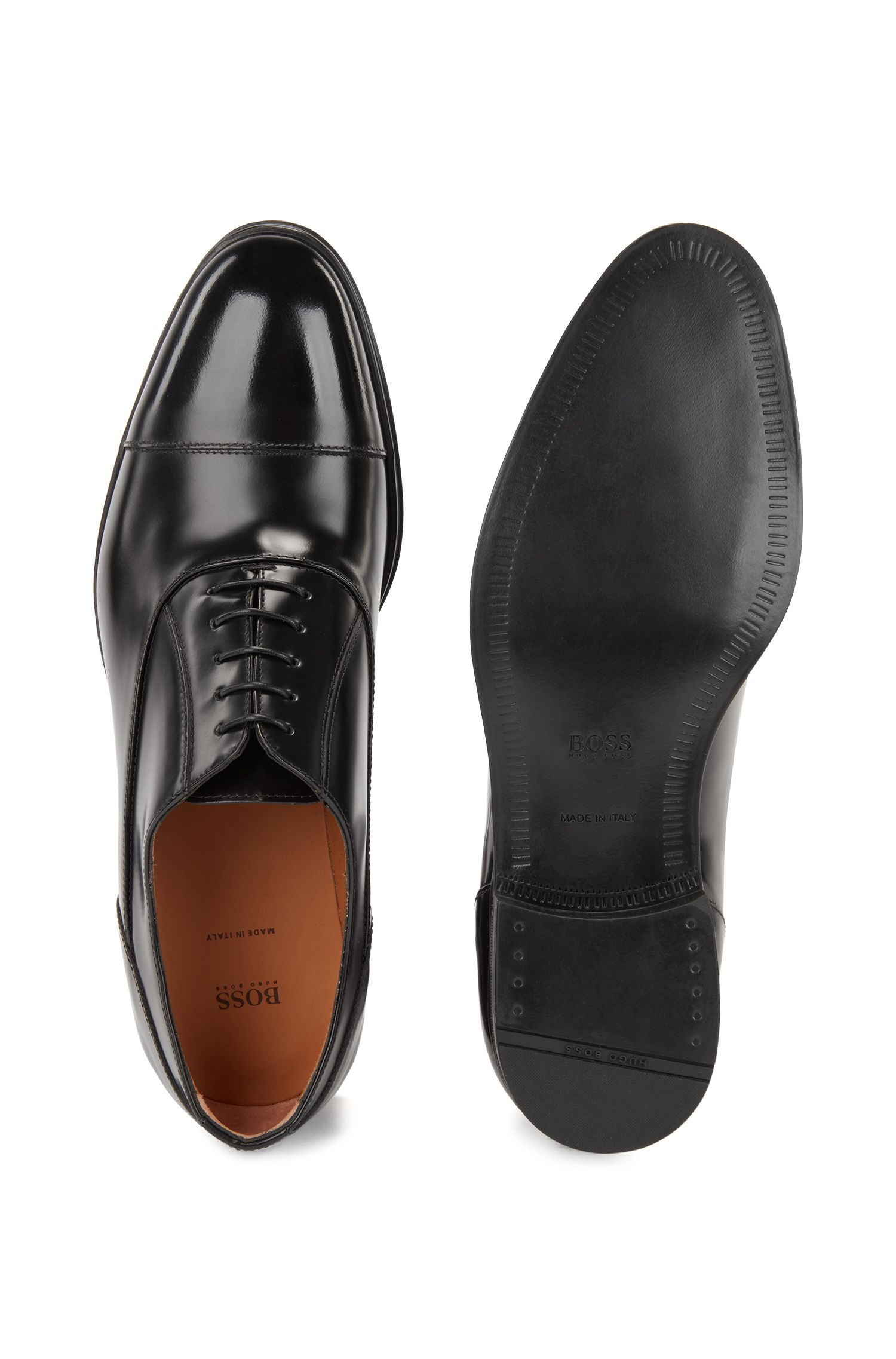 Oxford shoes in brush-off patent calf leather