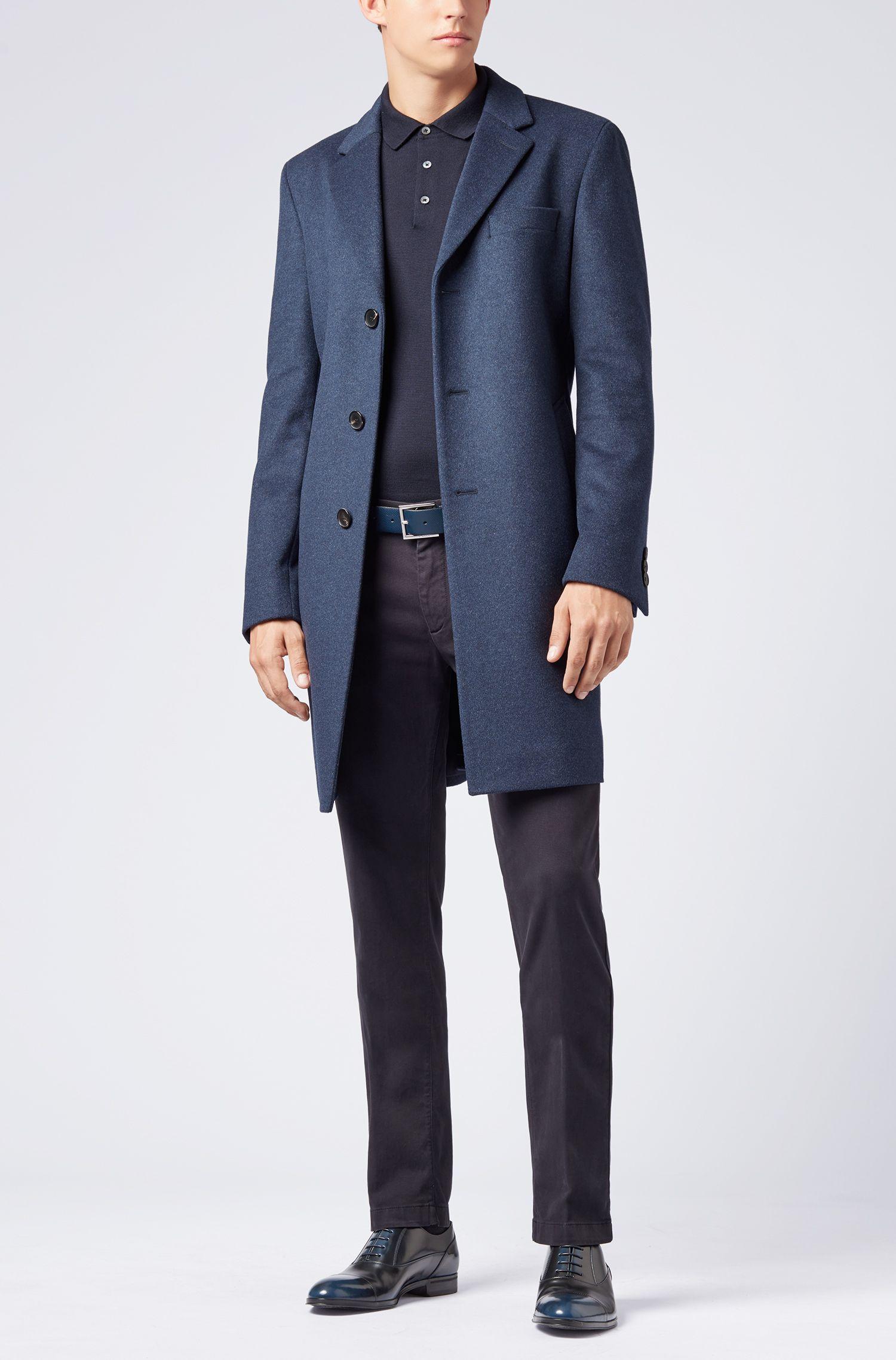 Zapatos oxford en piel de becerro de charol cepillada, Azul oscuro