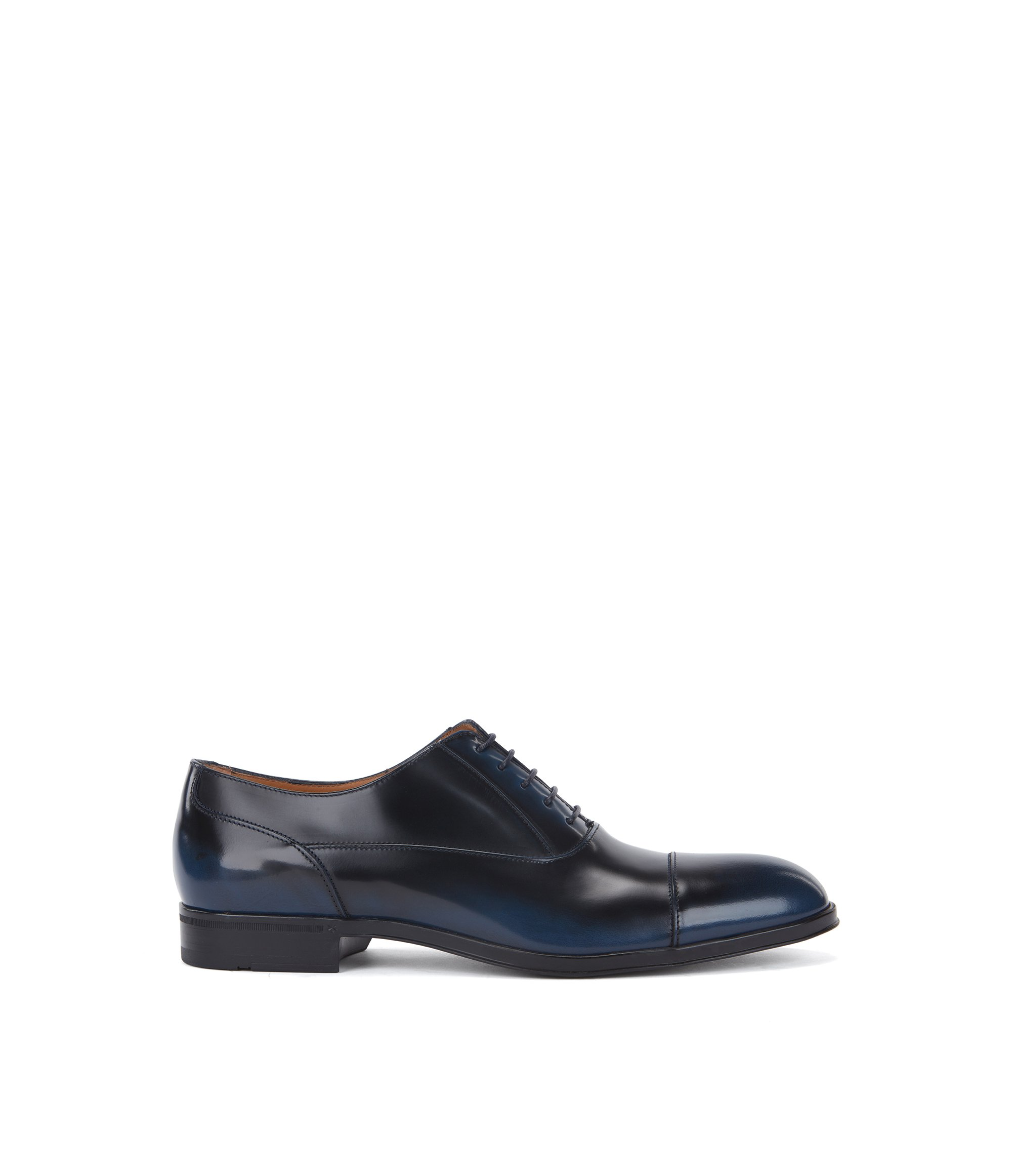 Oxford shoes in brush-off patent calf leather, Dark Blue