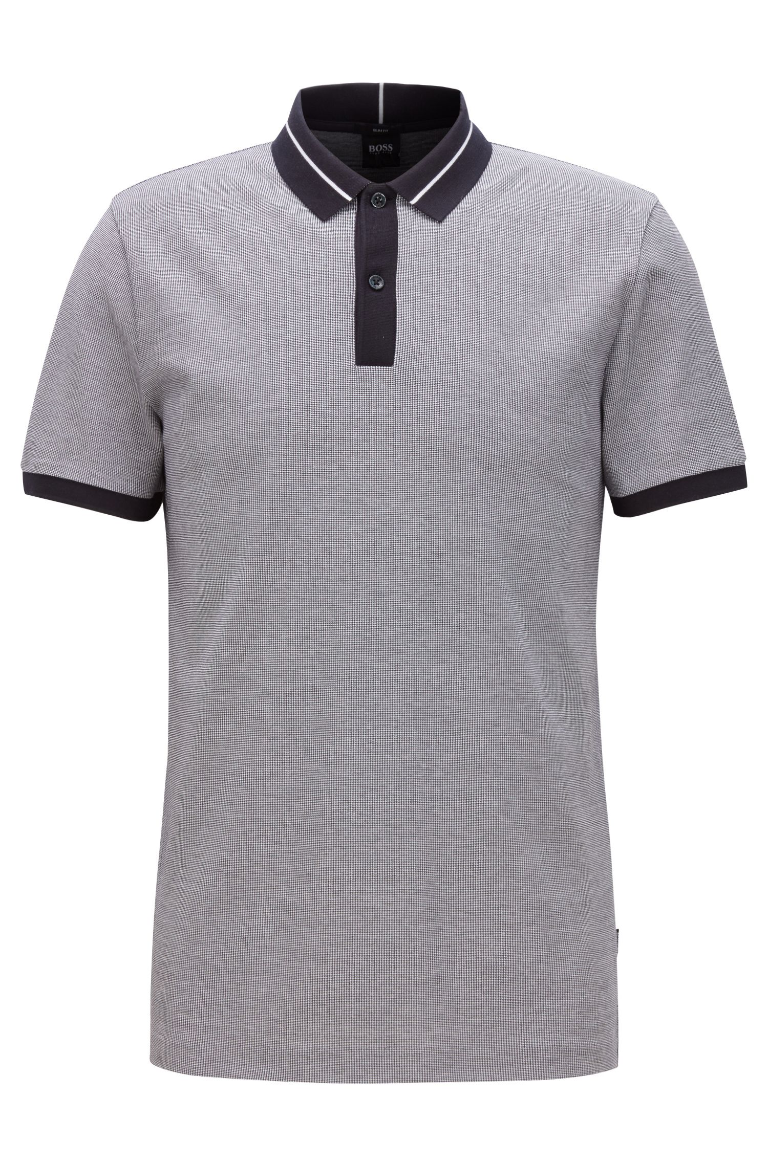 Slim-fit polo van air-cool-stretchkatoen, Blauw