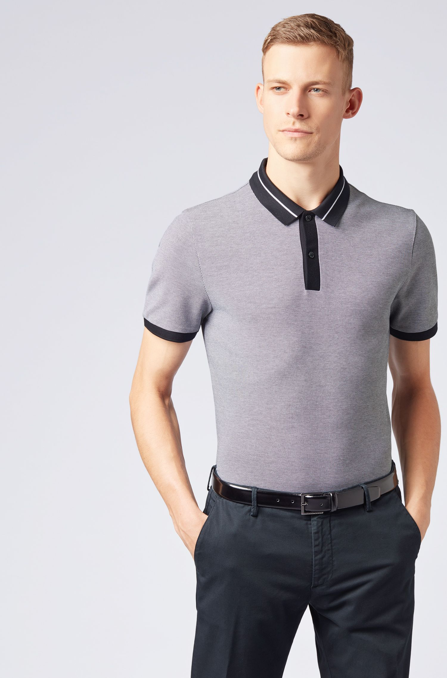 Polo Slim Fit en coton stretch air cool, Bleu