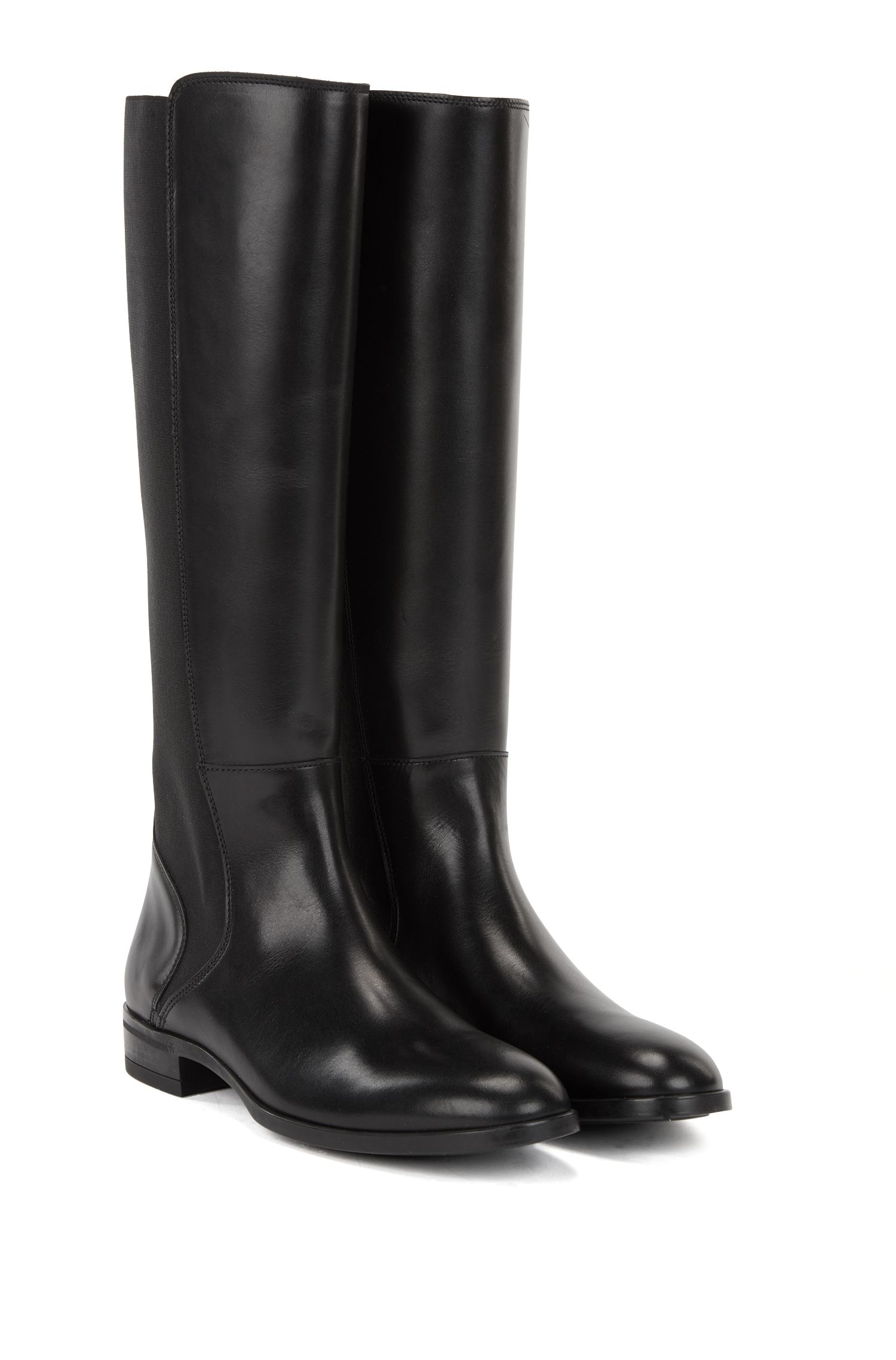 Knee-high boots in Italian calf leather, Black