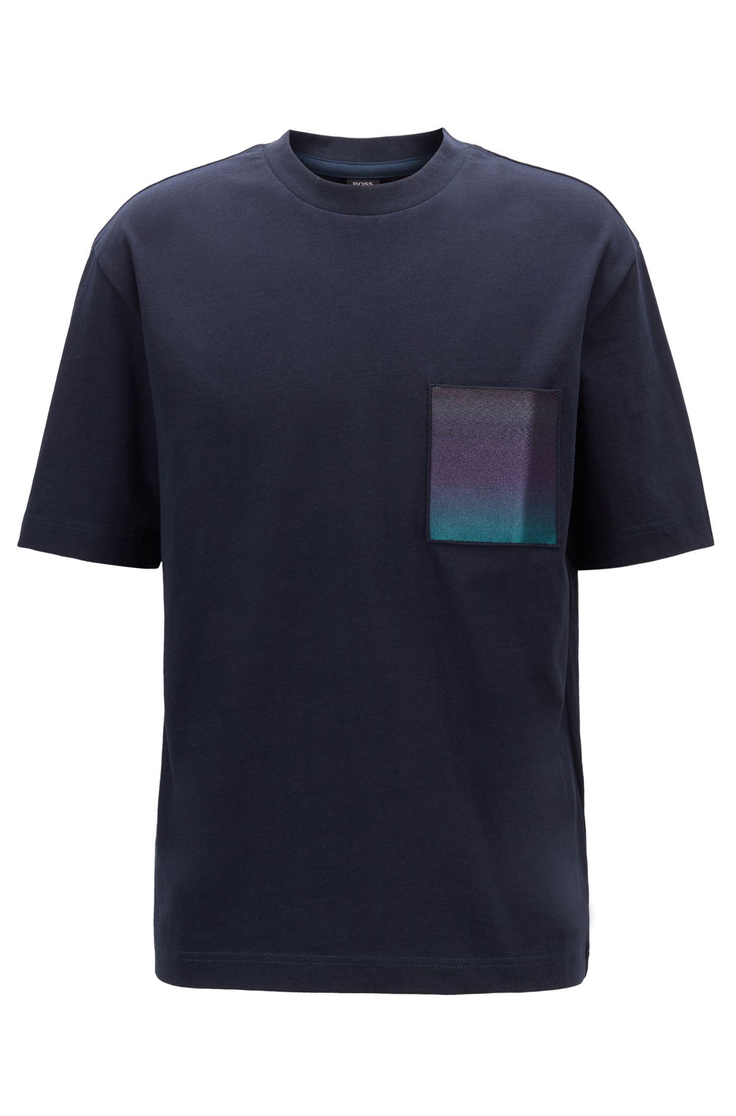 T-shirt en coton avec poche-poitrine à imprimé en dégradé, Bleu foncé