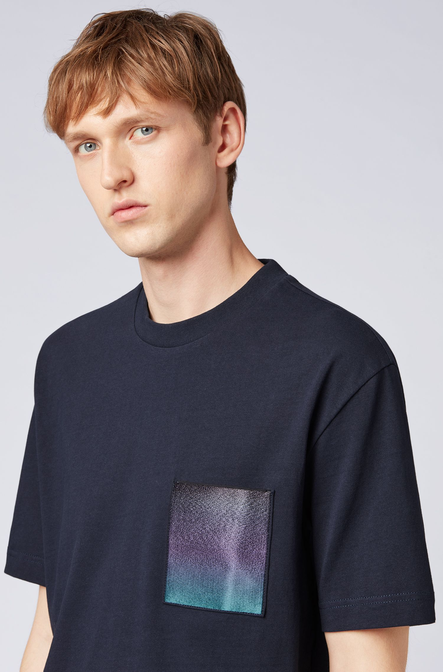 Cotton T-shirt with gradient-print chest pocket, Dark Blue