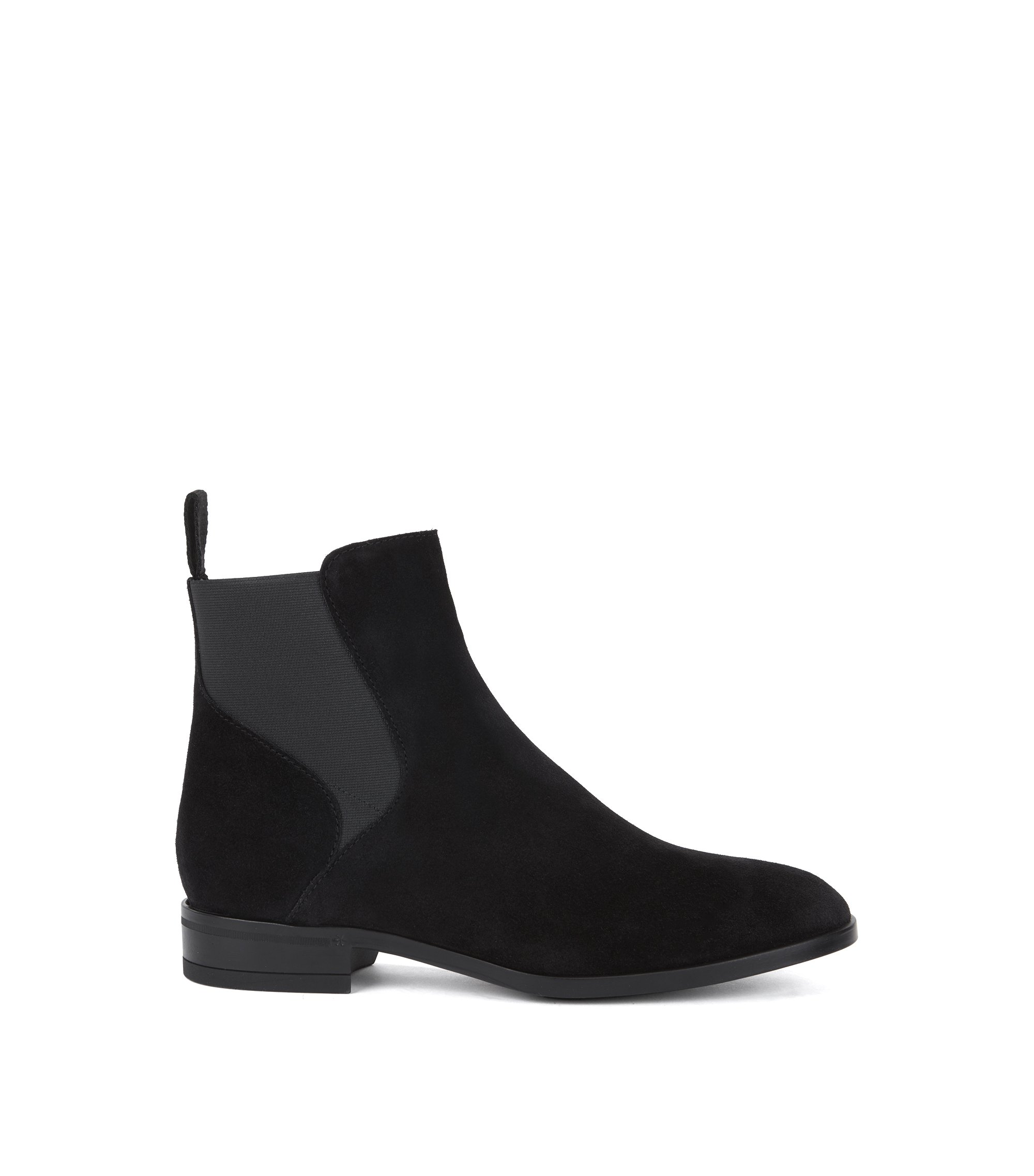 Chelsea boots in Italian calf suede with low heel, Black