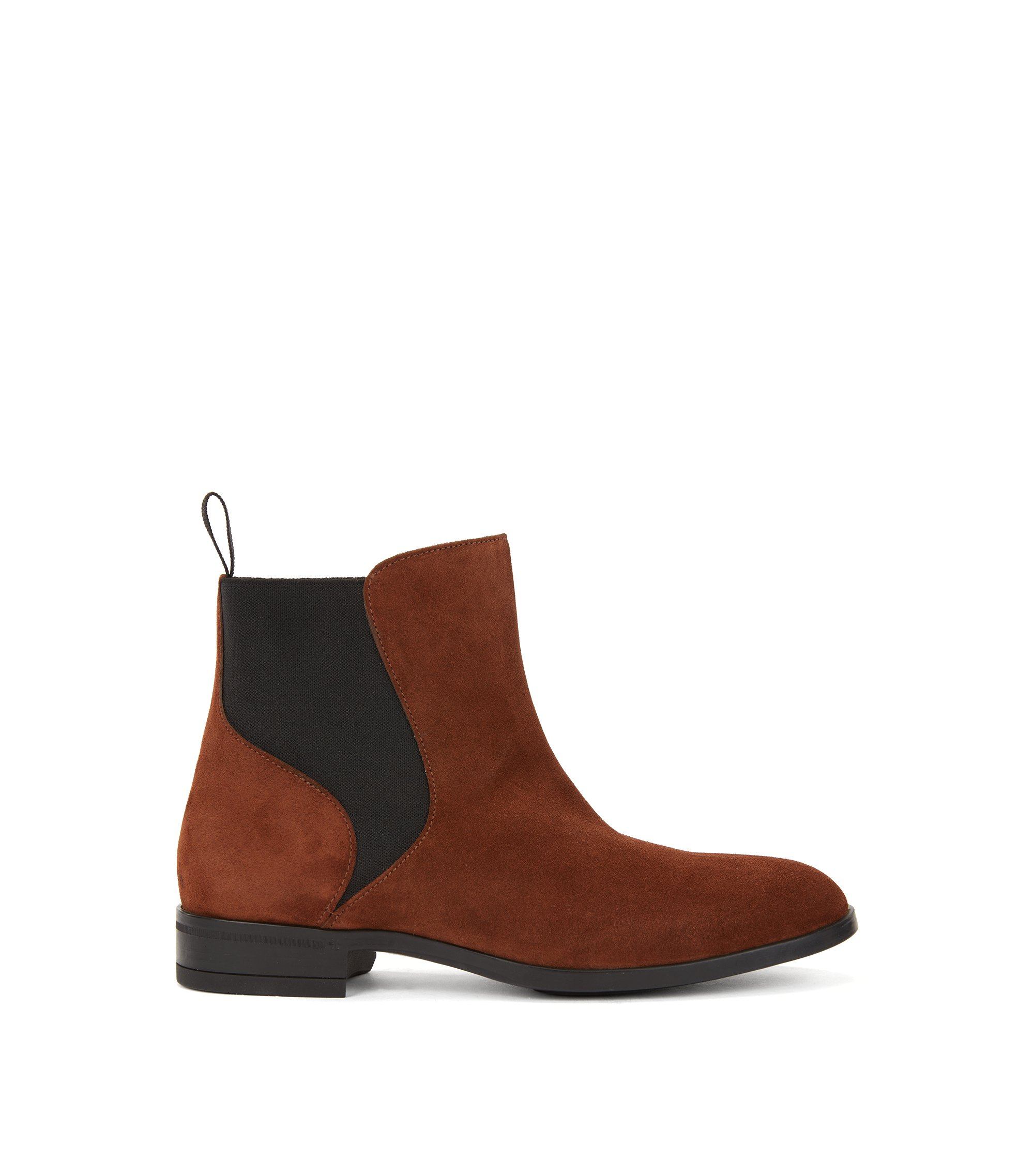 Chelsea boots in Italian calf suede with low heel, Brown