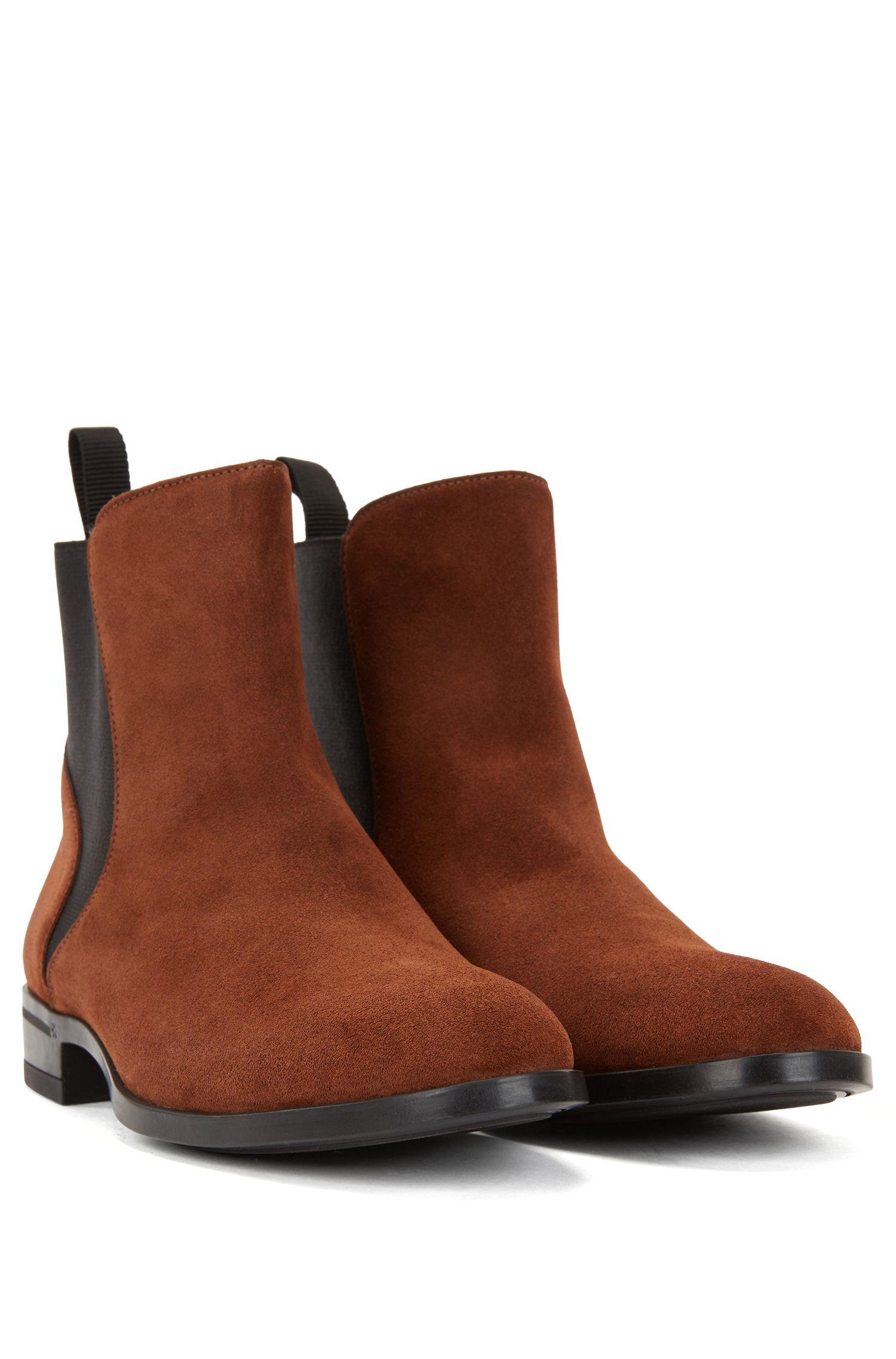 Chelsea boots in Italian calf suede with low heel, Brown