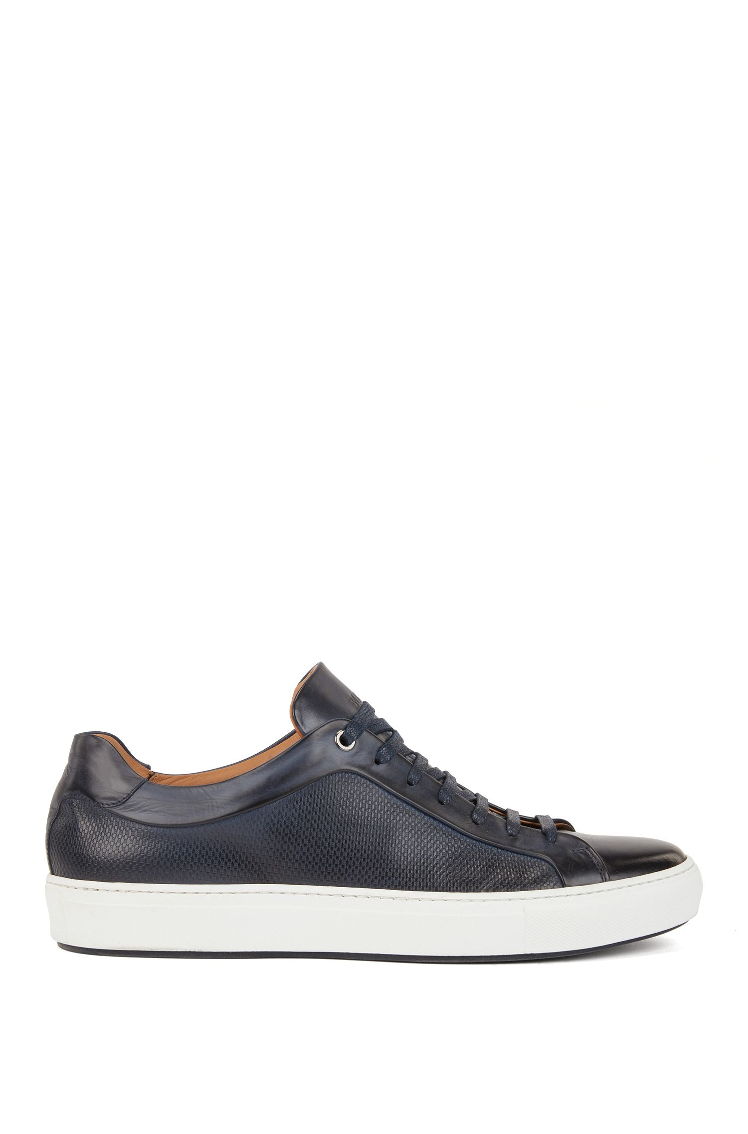 Calf leather tennis trainers with monogram-embossed panels, Dark Blue