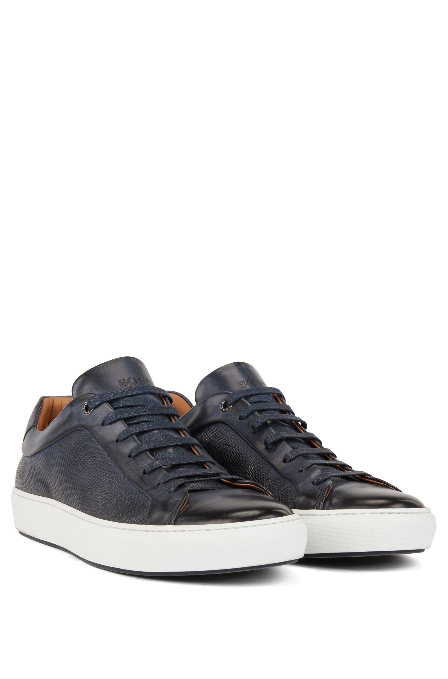 Calf leather tennis trainers with monogram-embossed panels BOSS