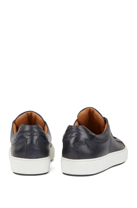 Calf leather tennis trainers with monogram-embossed panels BOSS vBQAX2