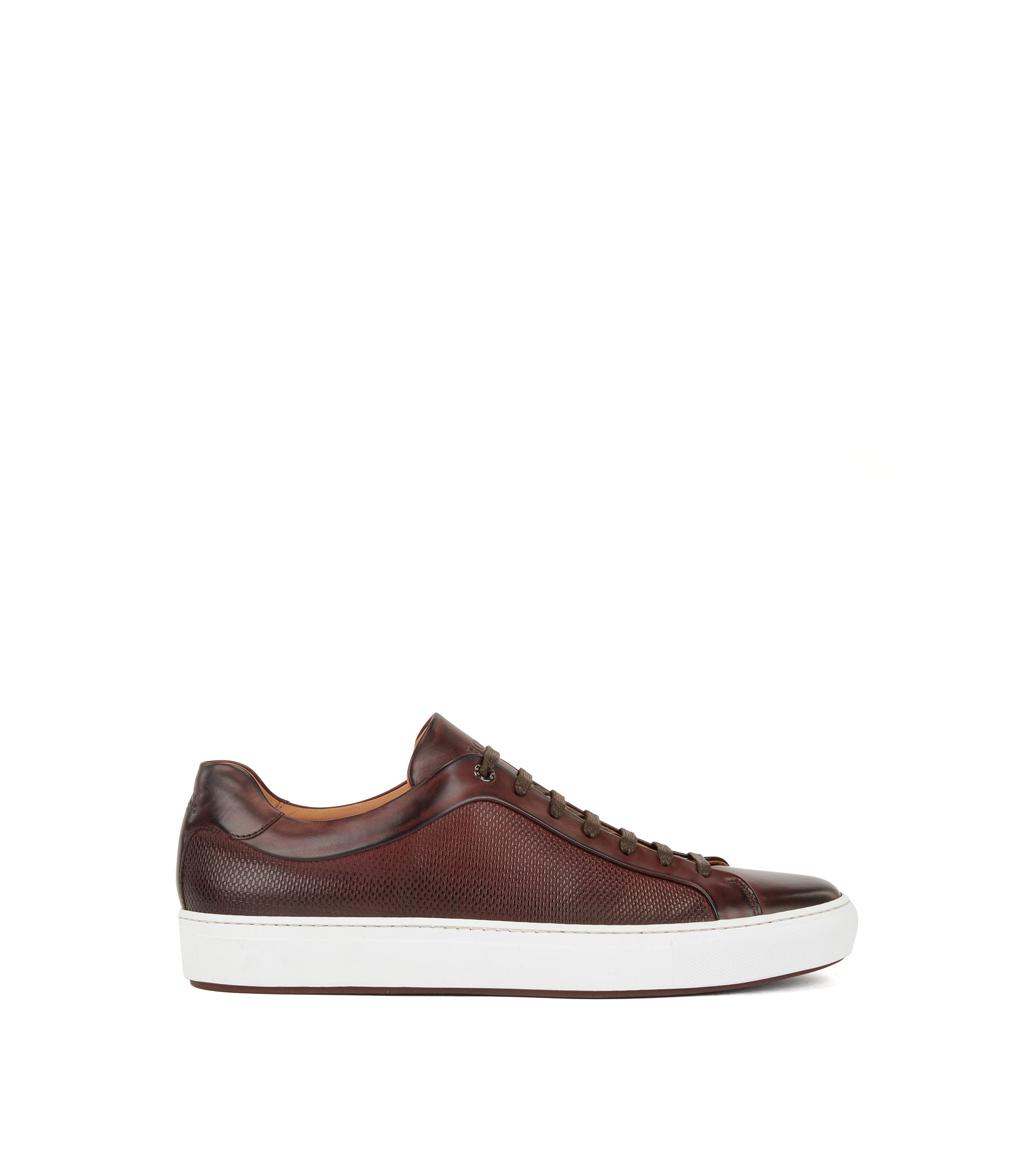 Calf leather tennis trainers with monogram-embossed panels, Dark Red