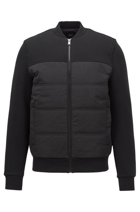 Bomber-style sweatshirt with padded body and textured sleeves, Black