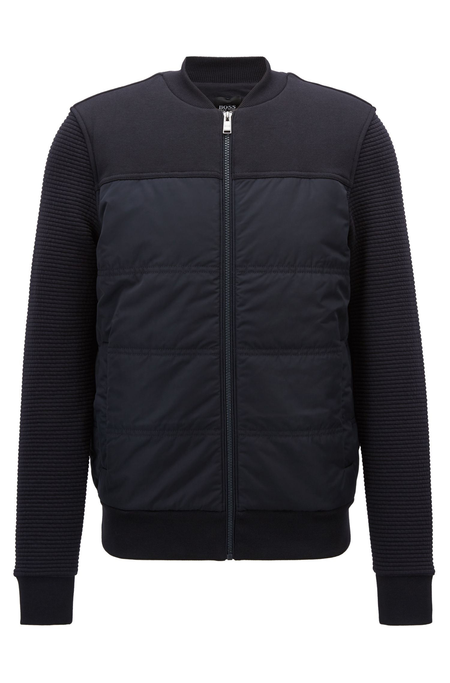 Bomber-style sweatshirt with padded body and textured sleeves, Dark Blue