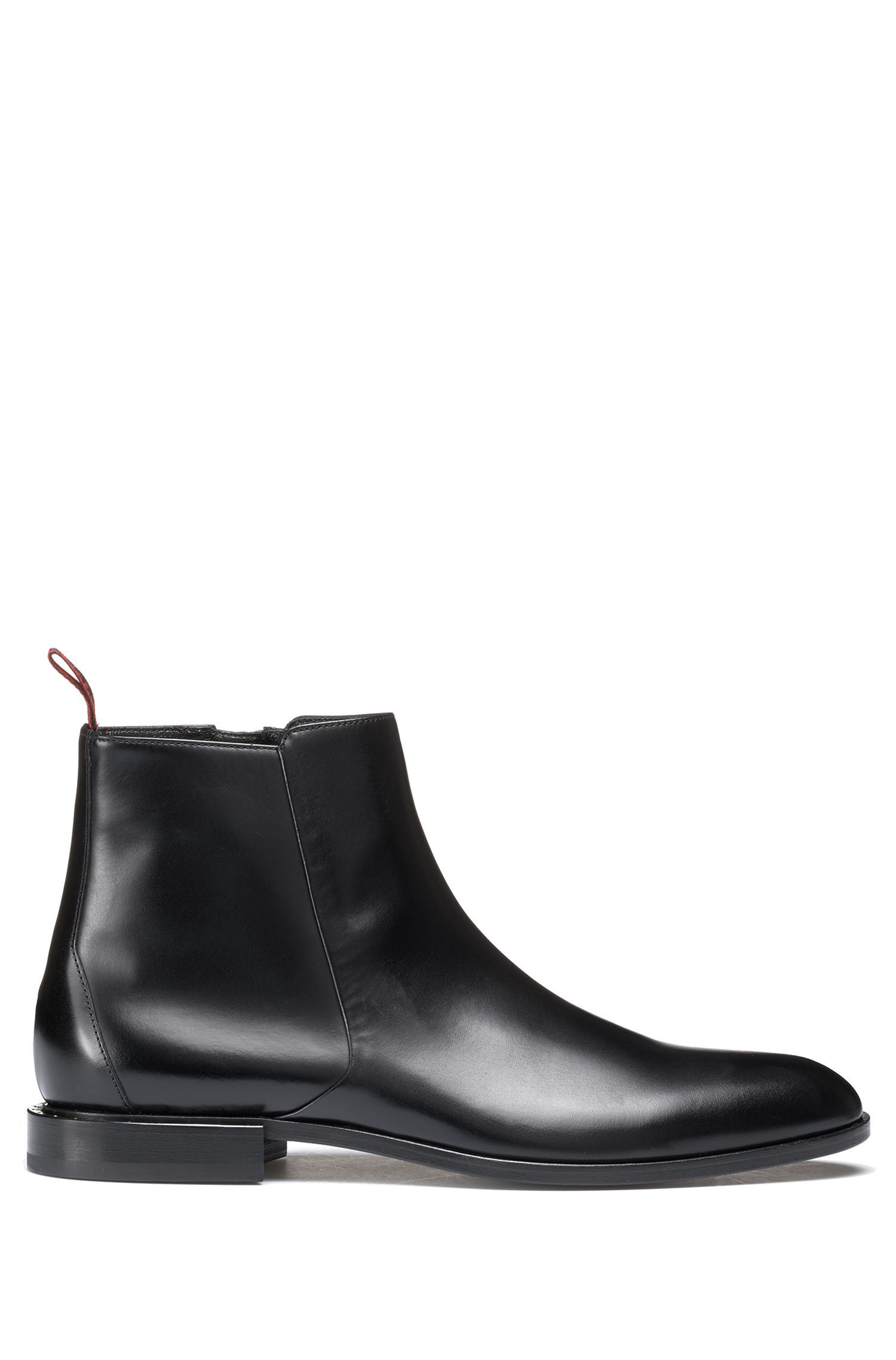 Leather Chelsea boots with stud trim, Black