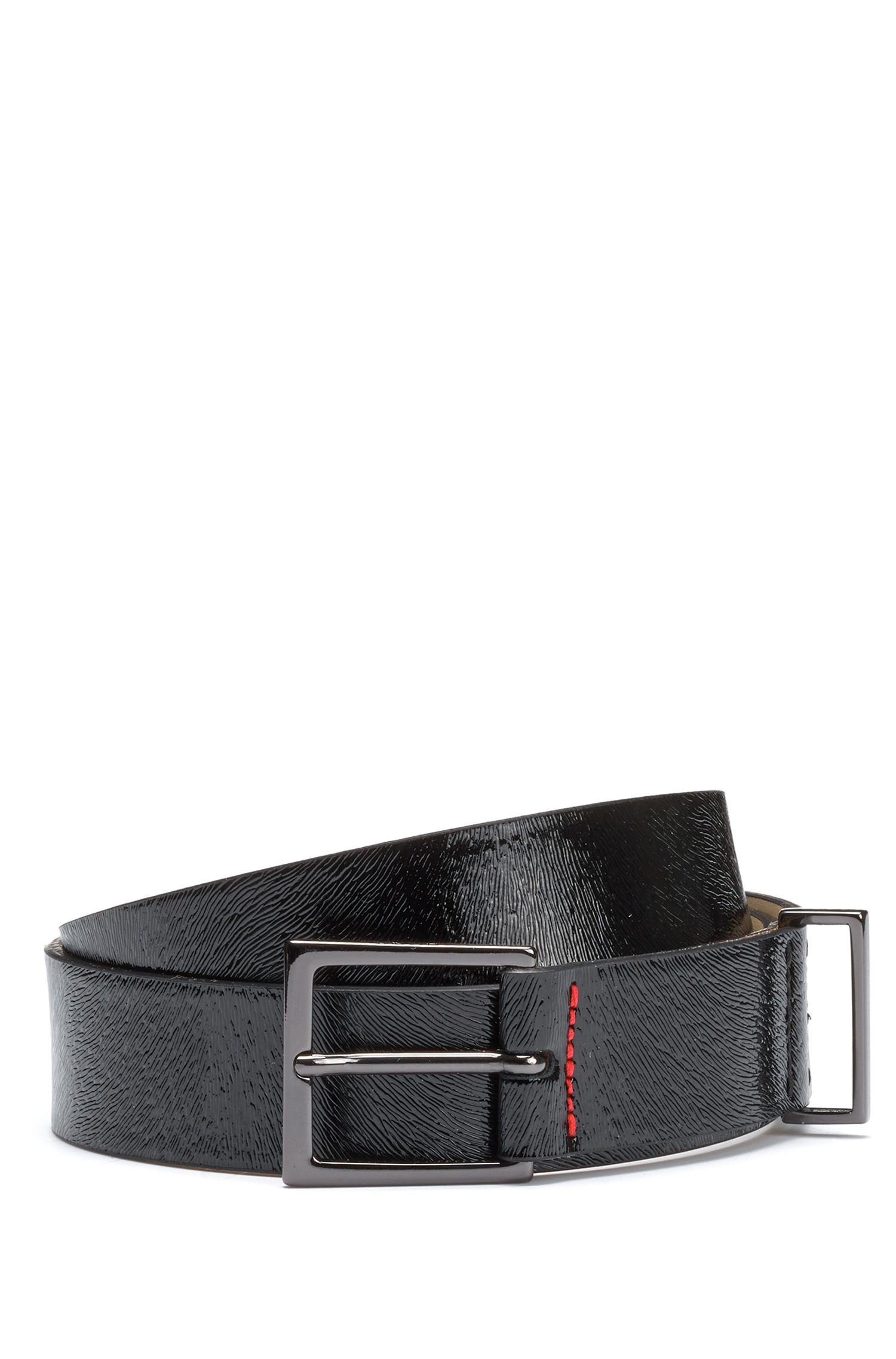 Textured belt in patent calf leather, Black