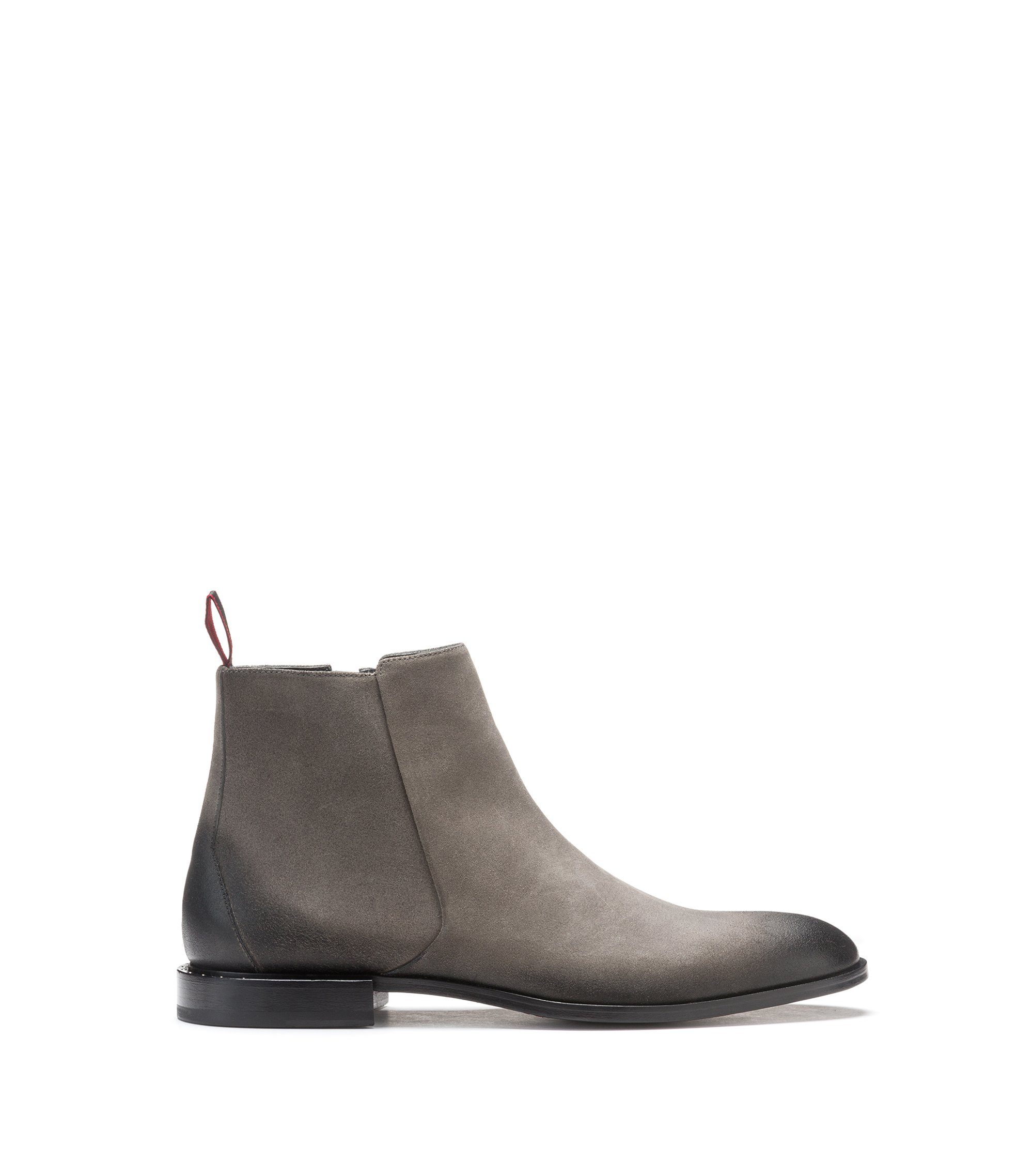 Zip-up boots in waxed suede with studded heel, Dark Grey