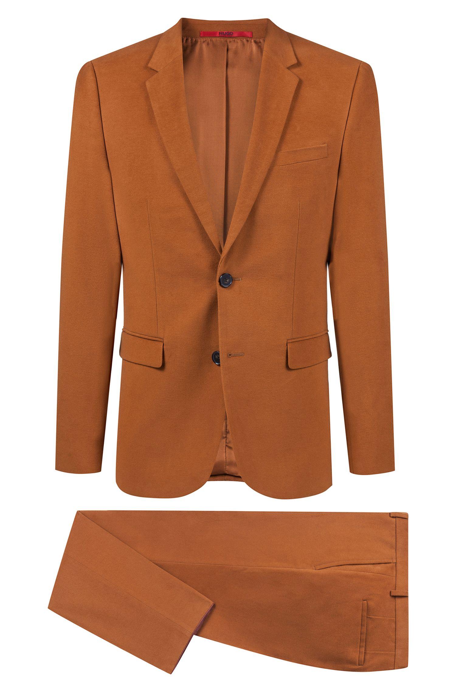 Extra slim-fit moleskin-kostuum met notch-revers, Bruin