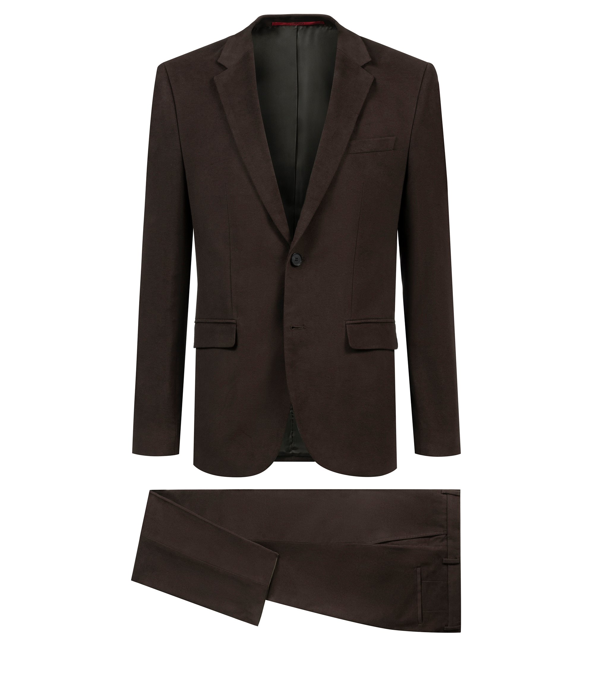 Extra-slim-fit moleskin suit with notch lapels, Brown