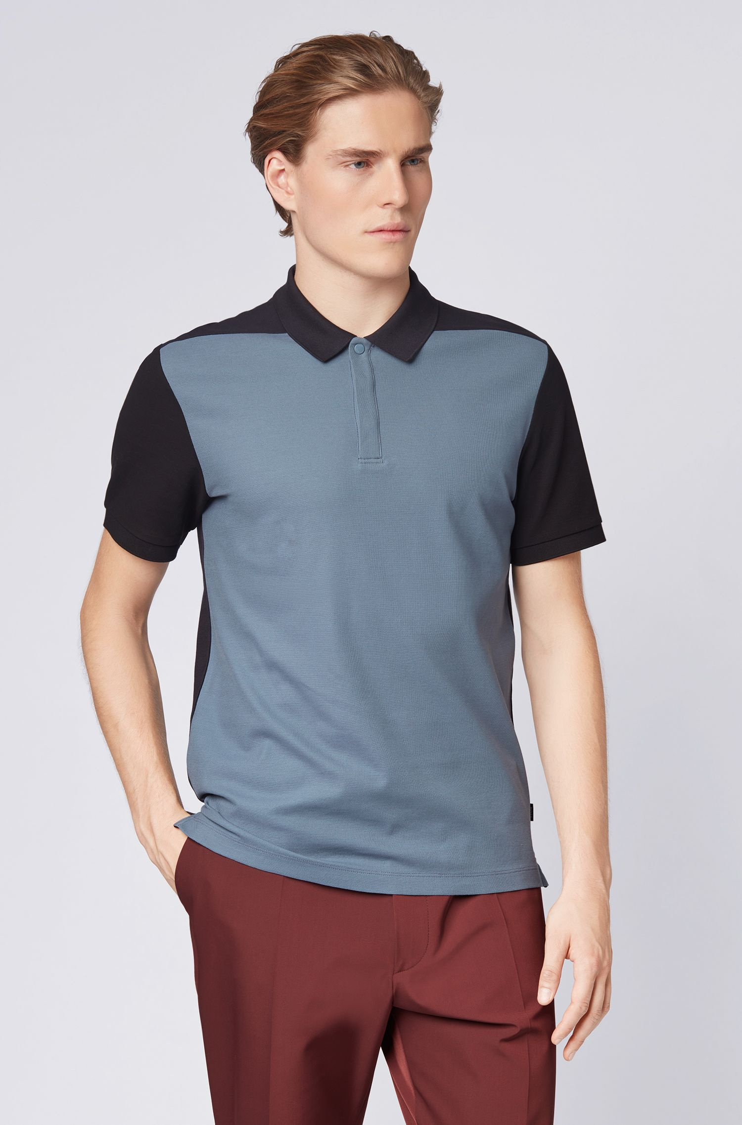 Slim-fit polo shirt in colour-block cotton piqué, Blue