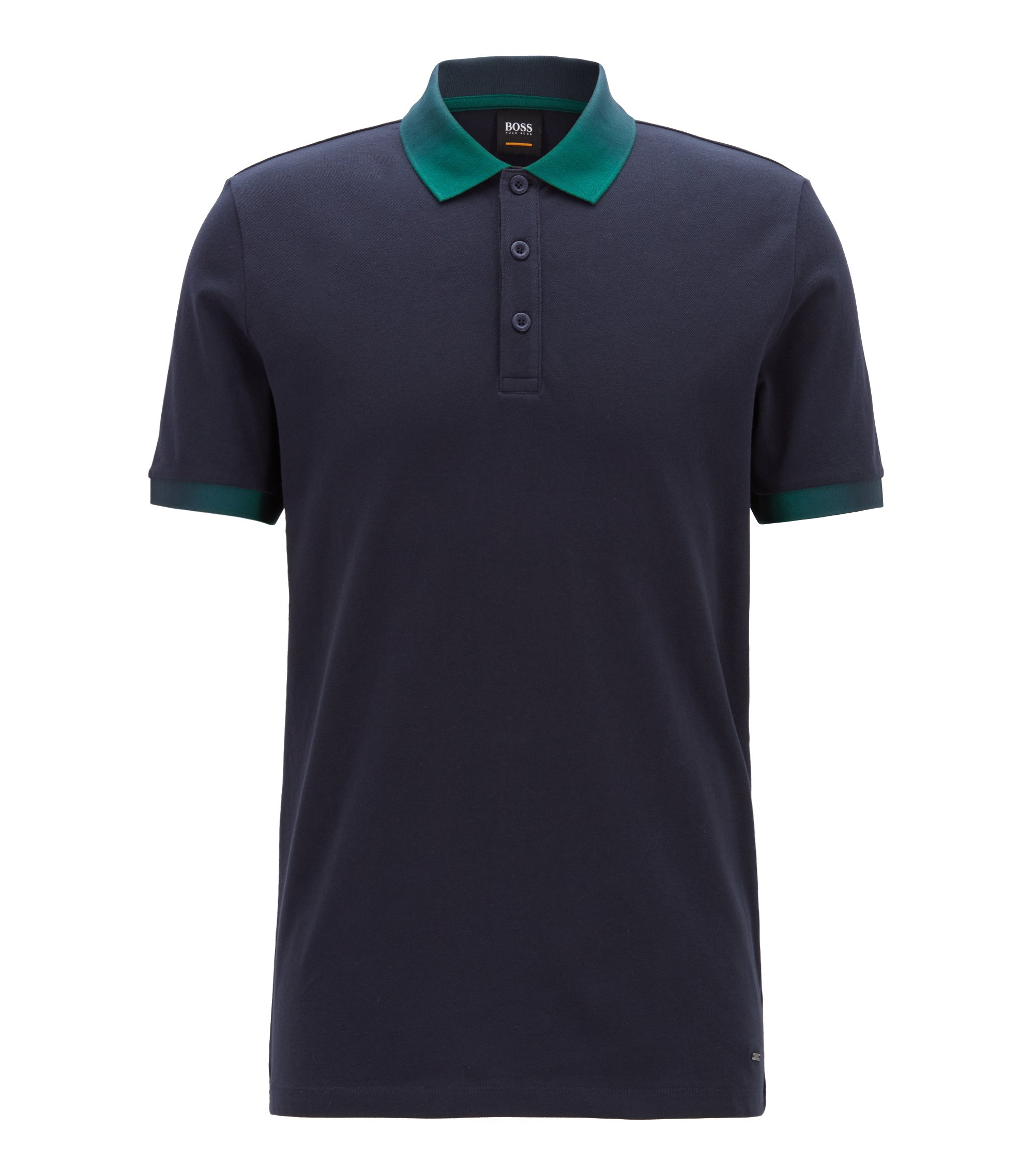 Relaxed-fit polo shirt with gradient-print detailing, Dunkelblau