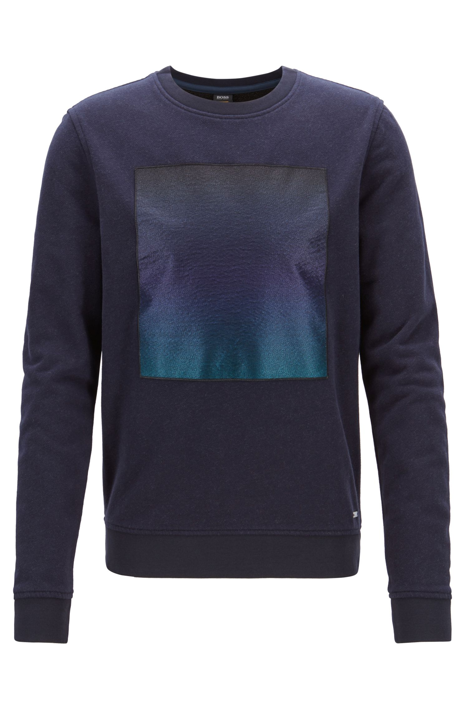 Brushed terry sweatshirt with embroidered patch and degradé print, Dark Blue