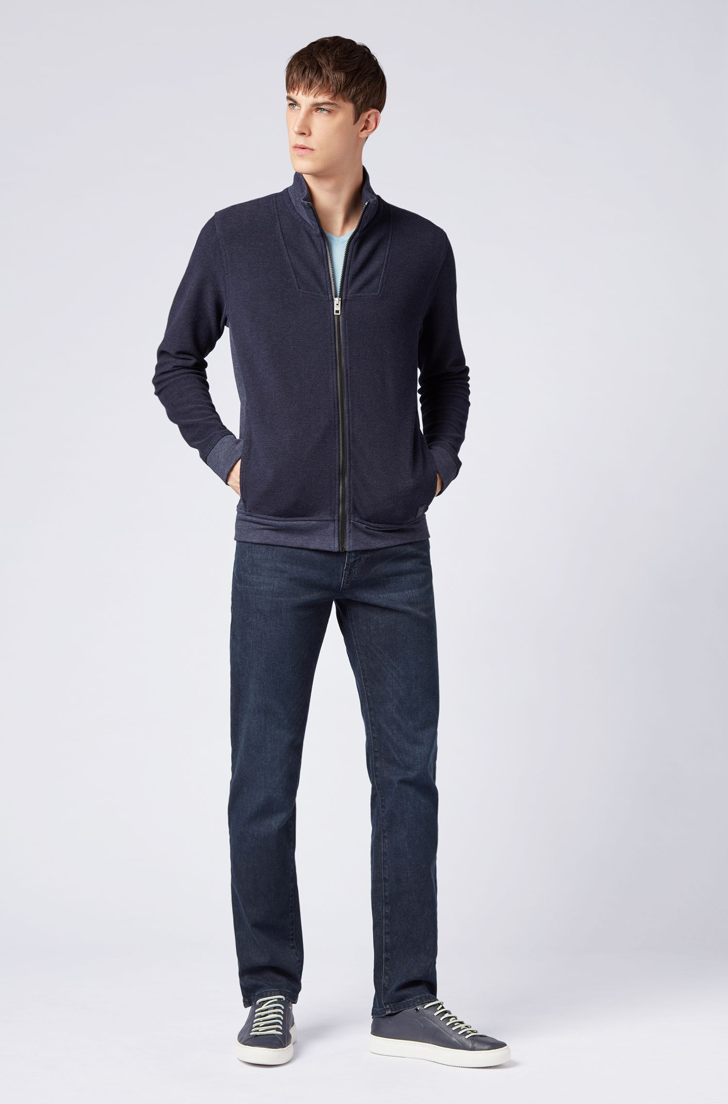 Relaxed-fit jacket in towelling terry, Dark Blue